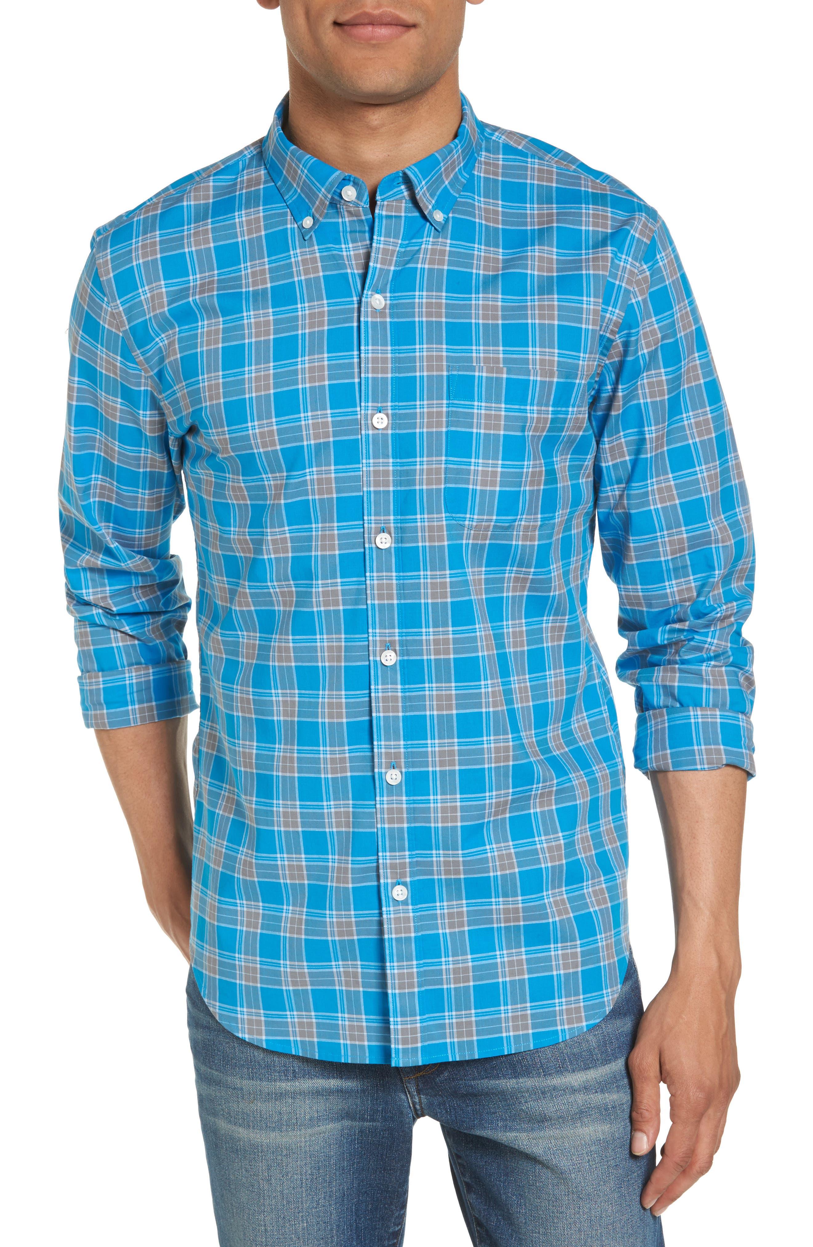 Summerweight Slim Fit Plaid Sport Shirt,                             Main thumbnail 1, color,                             Blue