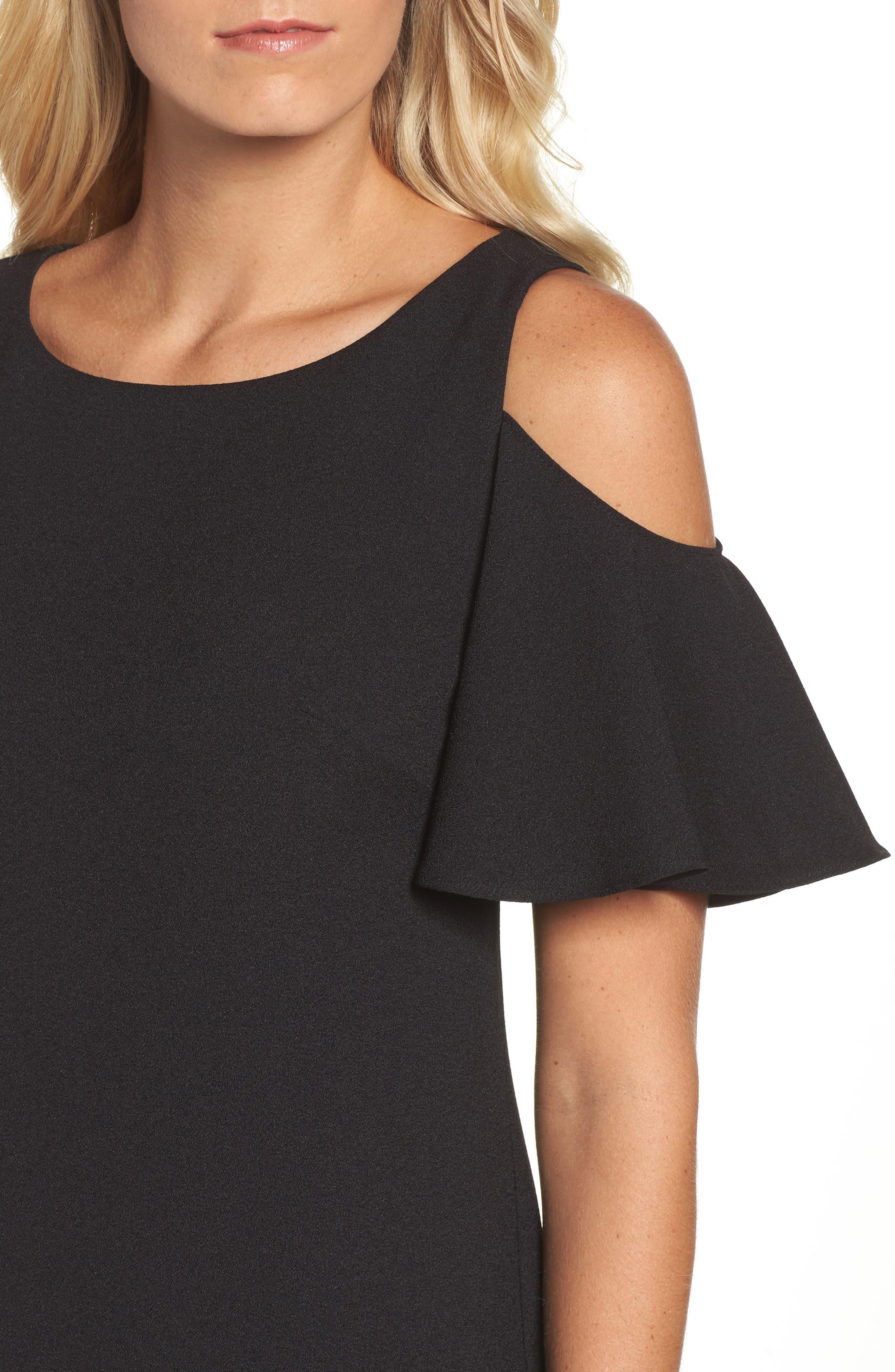Ruffle Cold Shoulder Shift Dress,                             Alternate thumbnail 4, color,                             Black