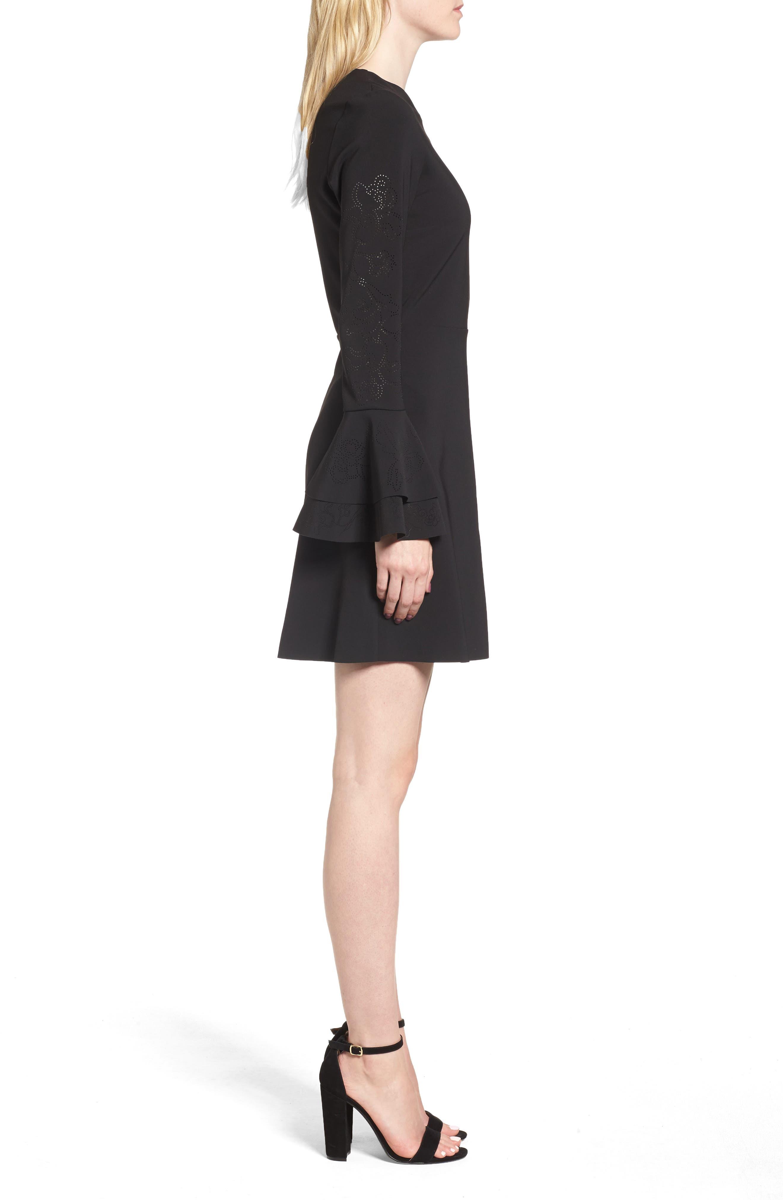 Orlando Ruffle Sleeve Dress,                             Alternate thumbnail 3, color,                             Black