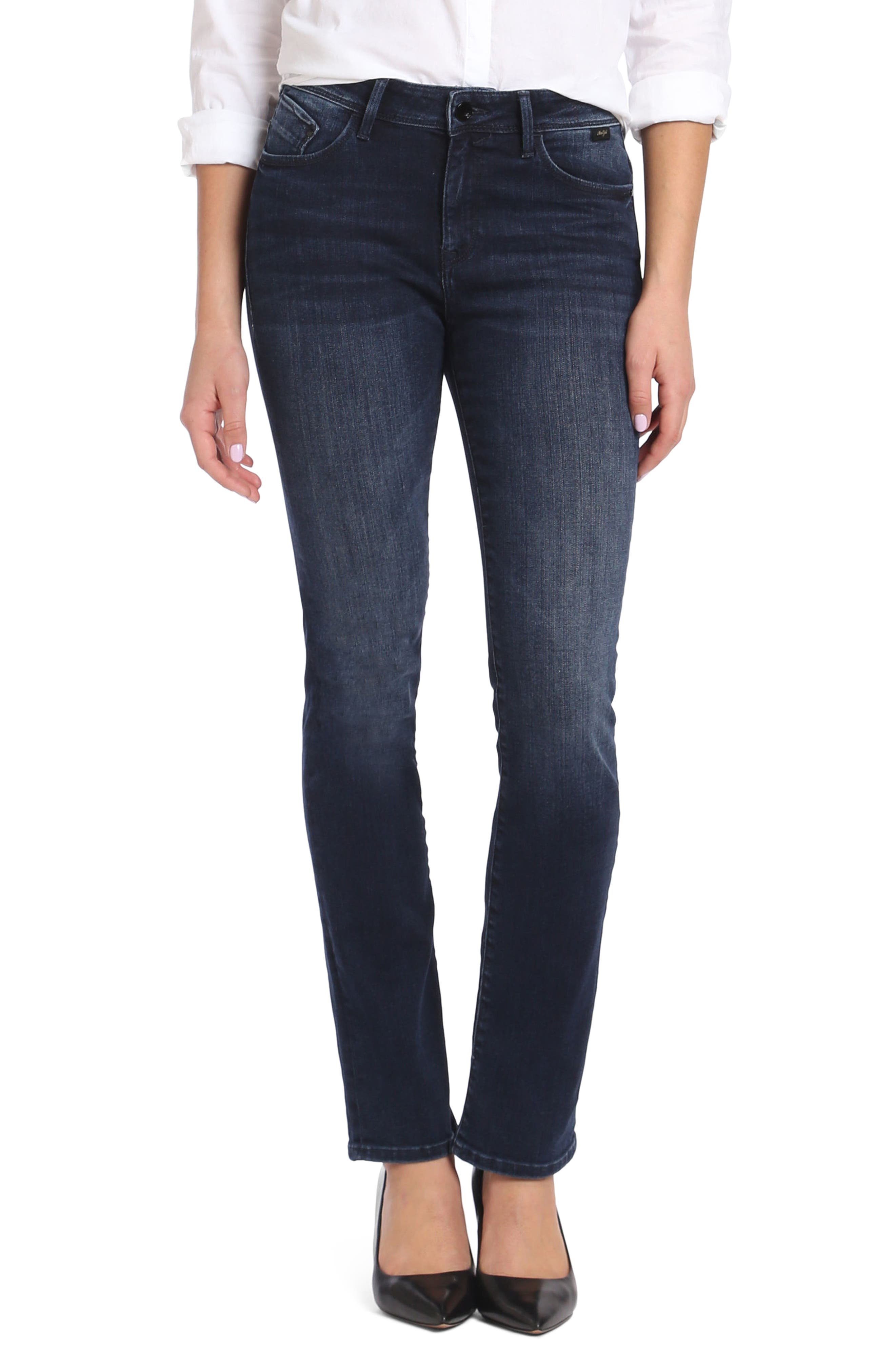 Kendra High Waist Straight Jeans,                         Main,                         color, Deep Ink Gold