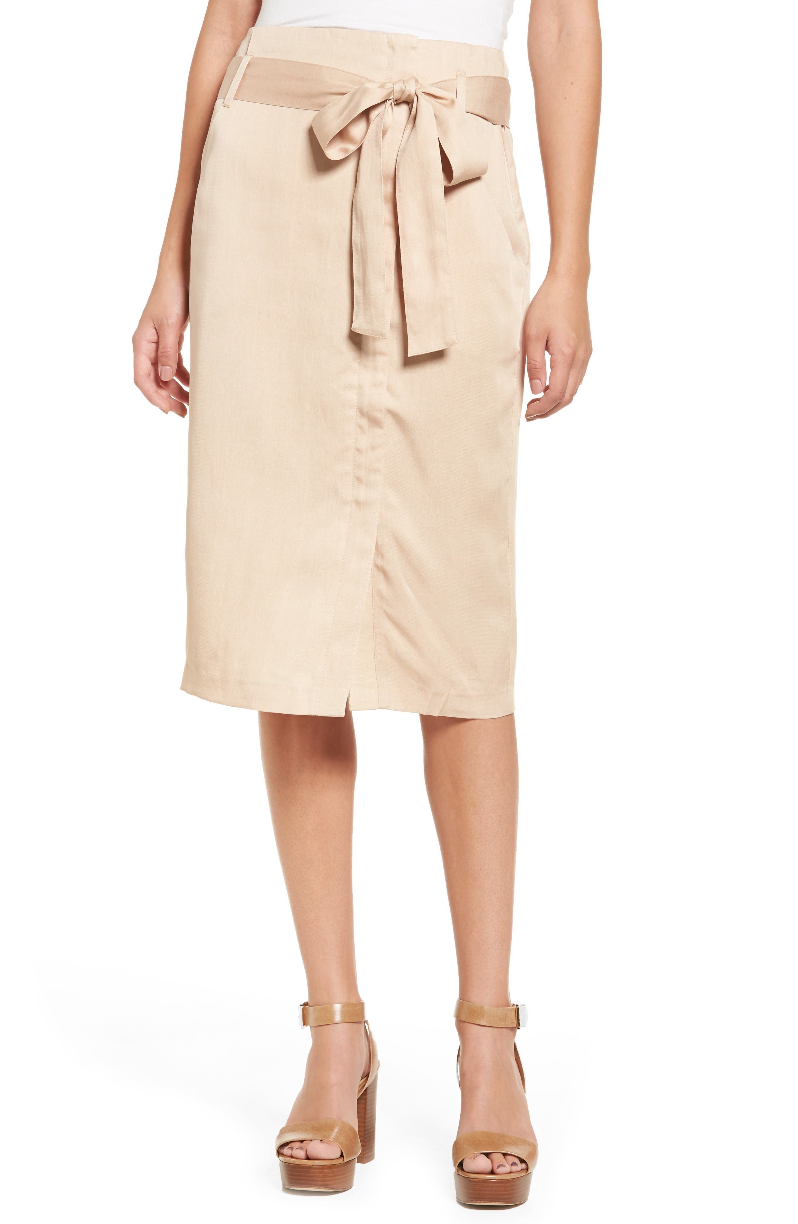 Tie Waist Pencil Skirt,                         Main,                         color, Taupe