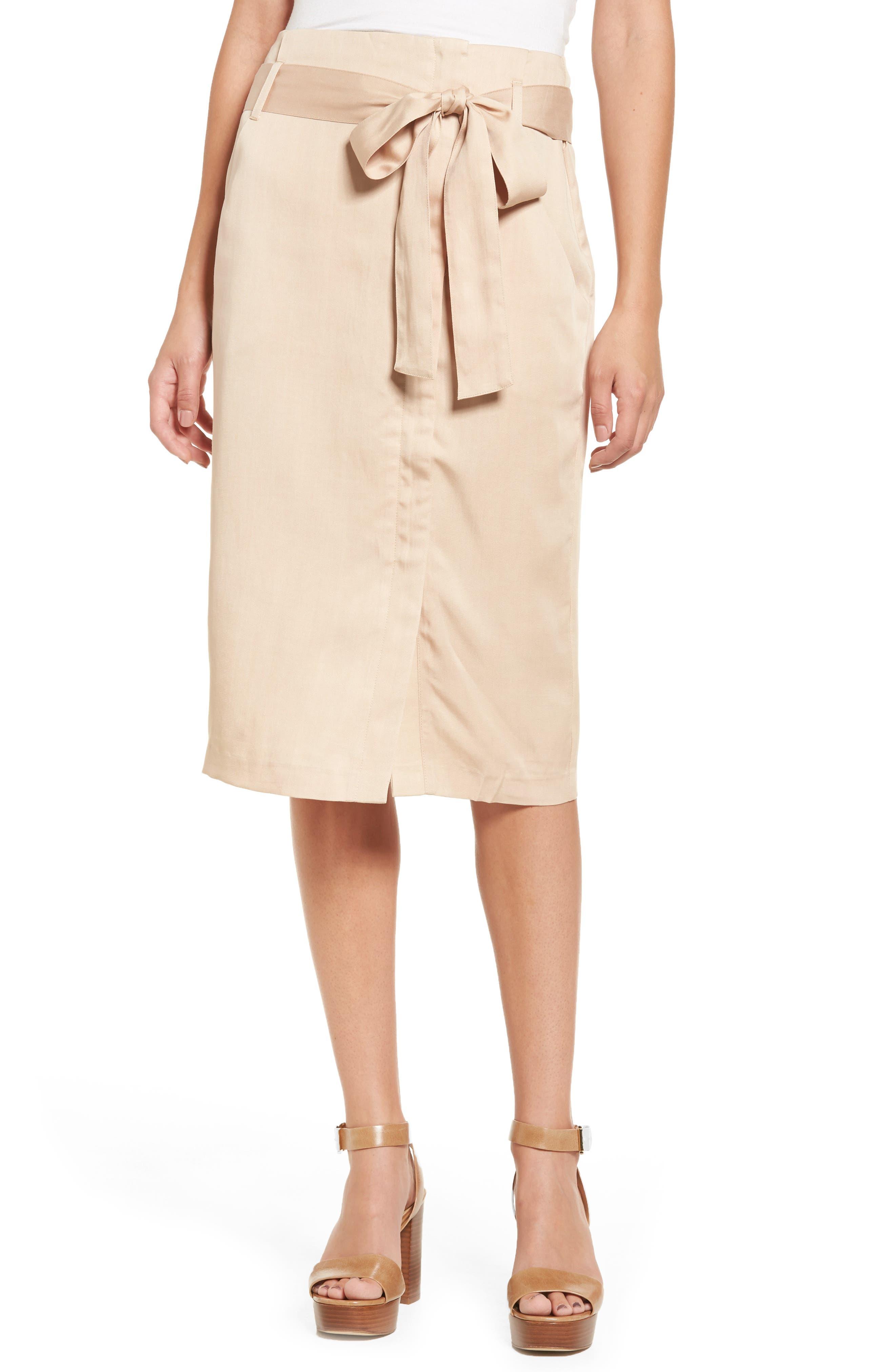 Moon River Tie Waist Pencil Skirt