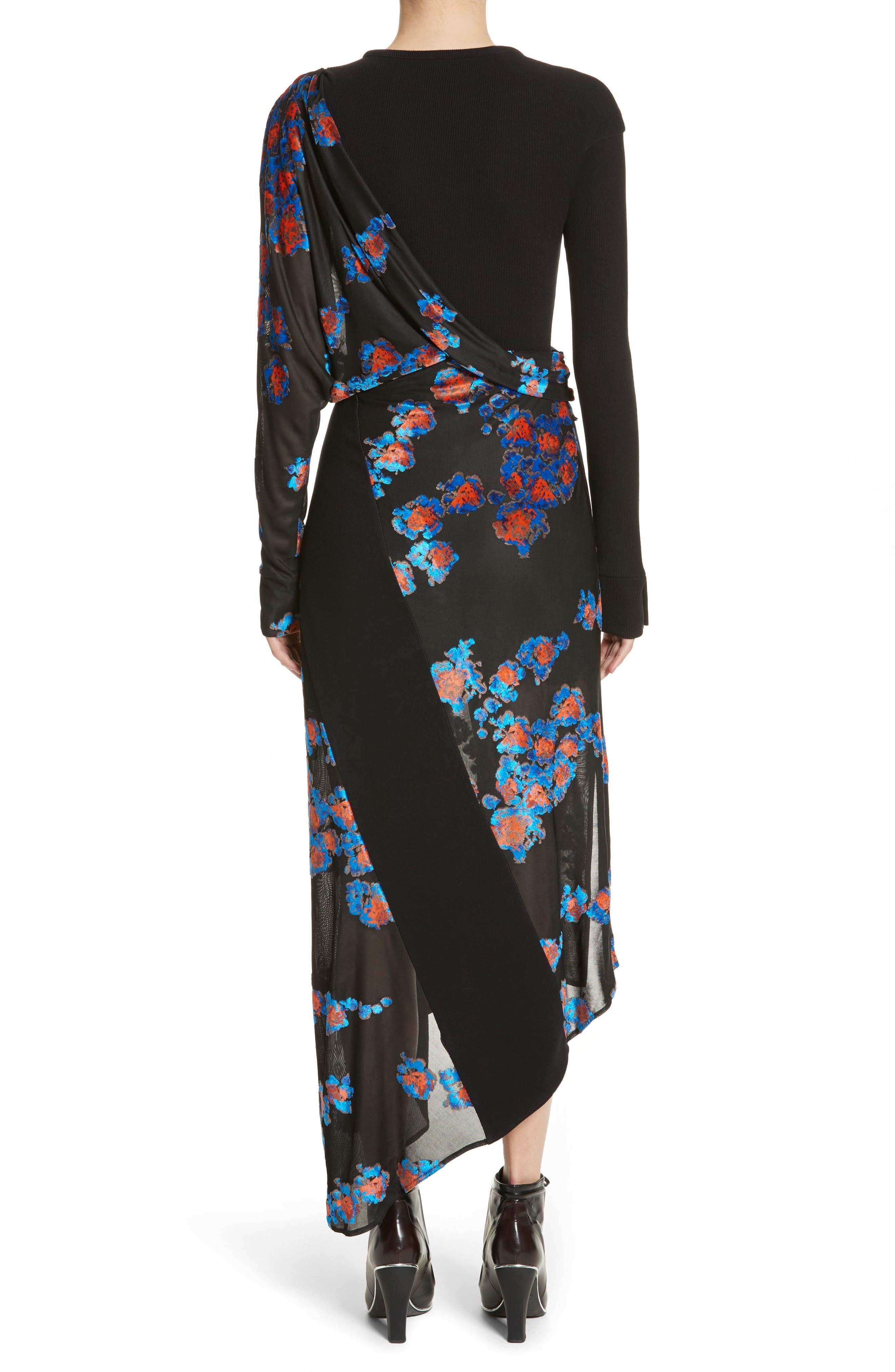 Jersey Jacquard Draped Maxi Dress,                             Alternate thumbnail 3, color,                             Black/ Black