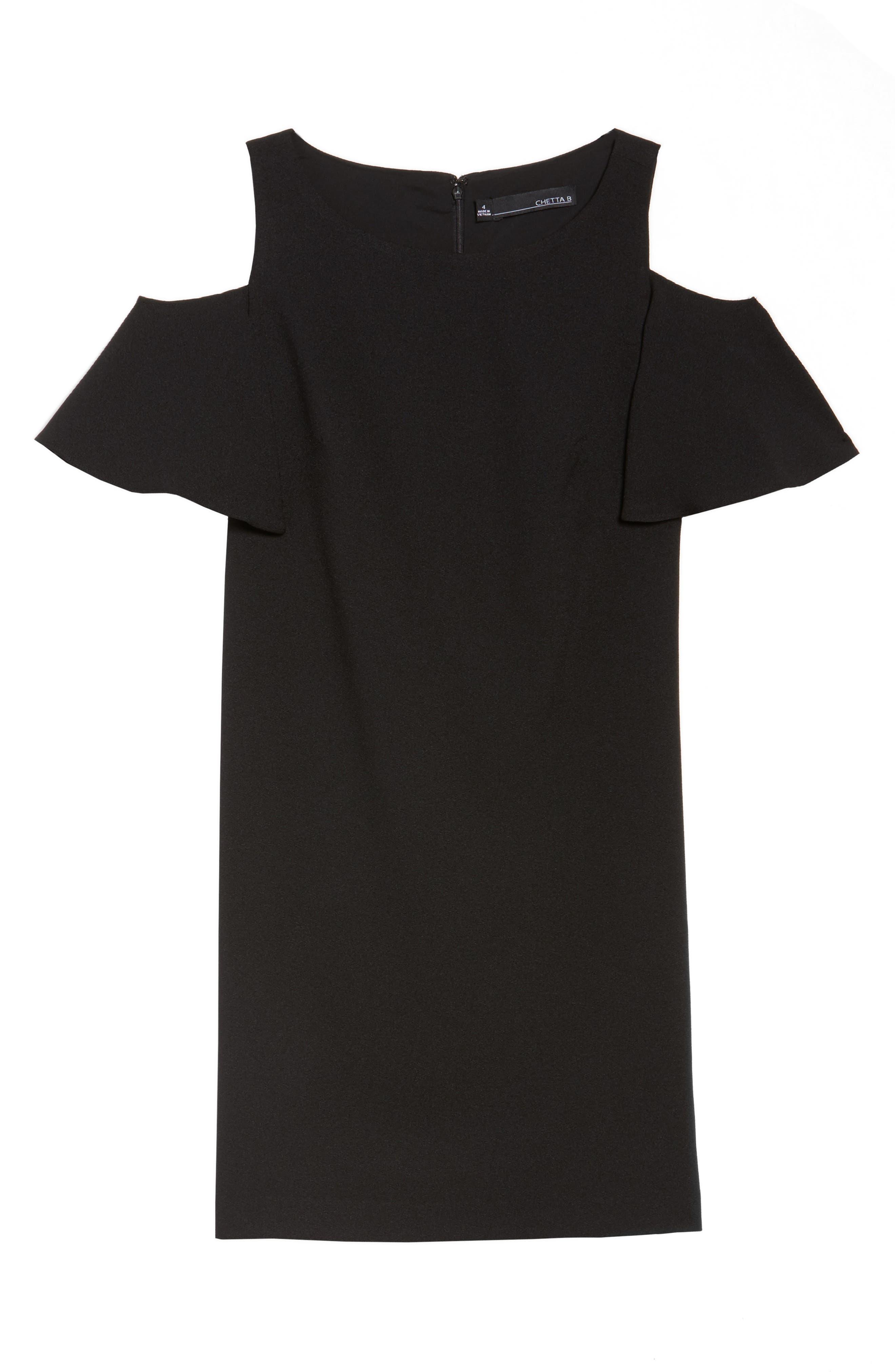 Ruffle Cold Shoulder Shift Dress,                             Alternate thumbnail 6, color,                             Black