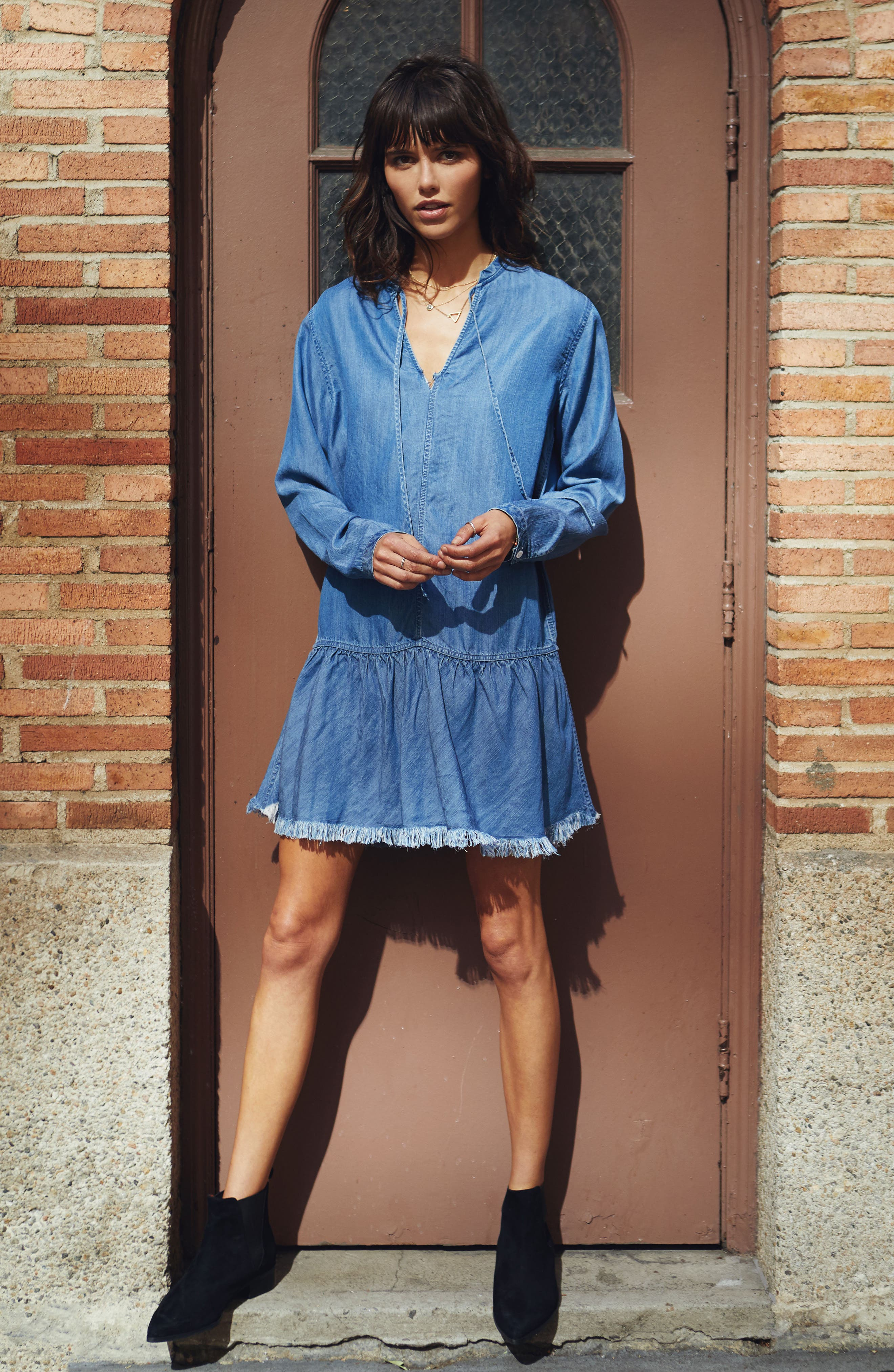 Mel Chambray Tunic Dress,                             Alternate thumbnail 2, color,                             Medium Vintage Wash