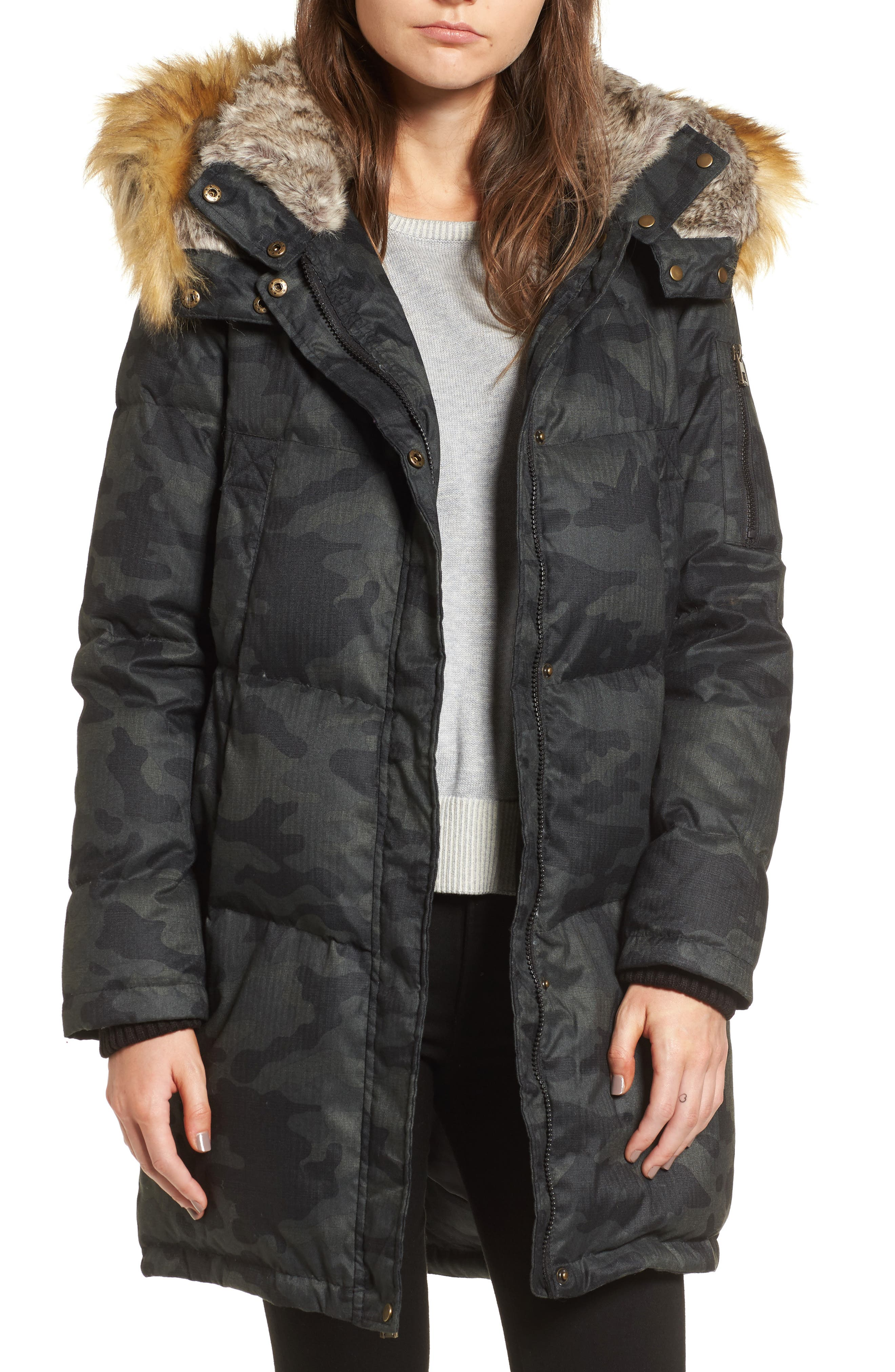 Vince Camuto Down & Feather Fill Parka with Faux Fur Trims