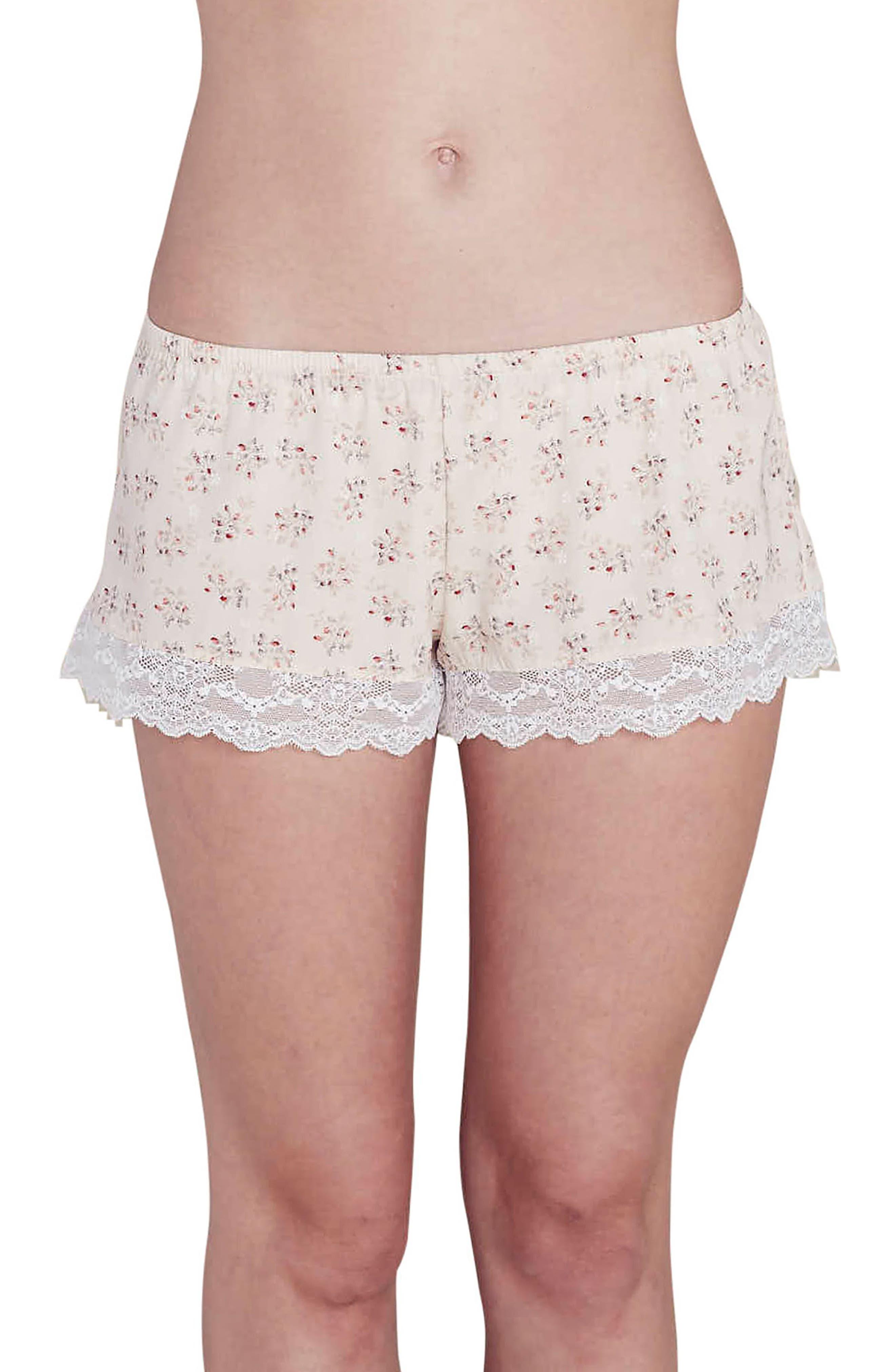x Rebecca Taylor Lou Silk Shorts,                         Main,                         color, Cream Print Brumble Buds
