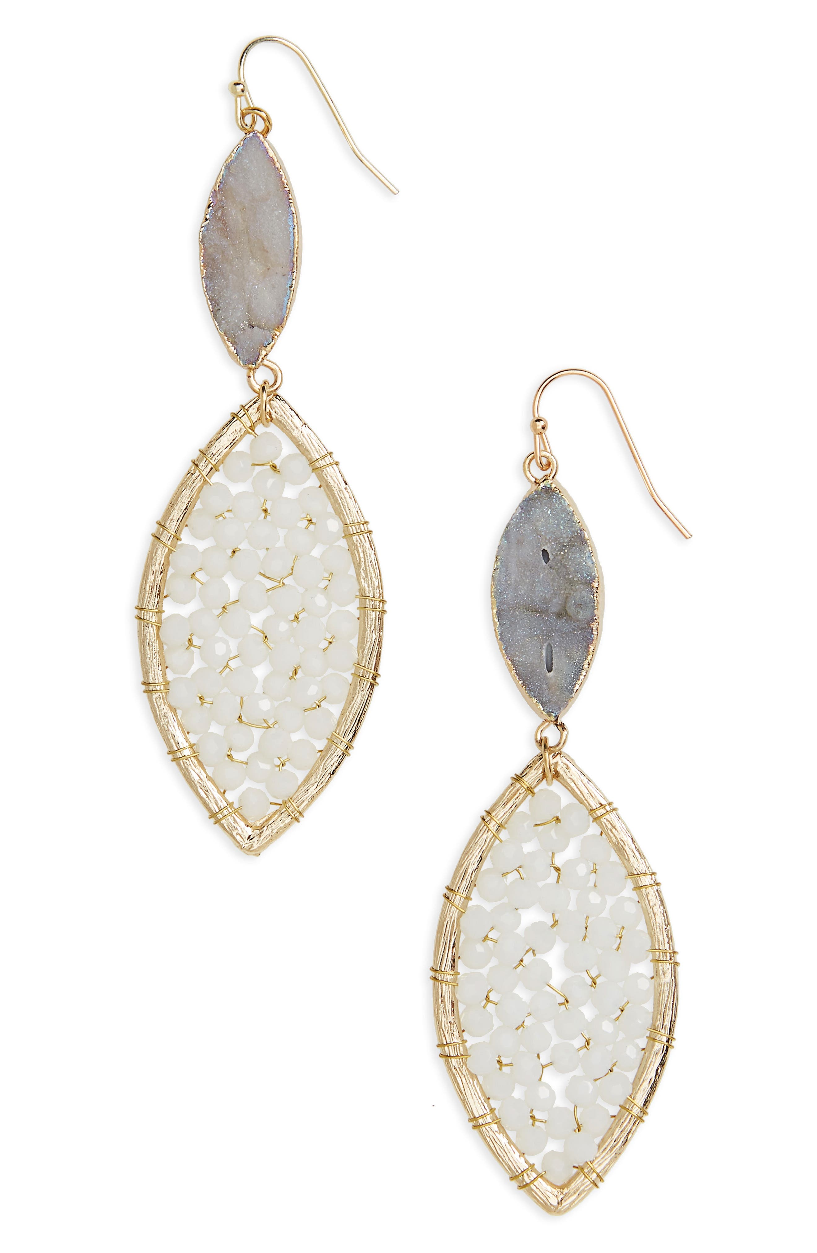 PANACEA Sunstone Crystal Drop Earrings