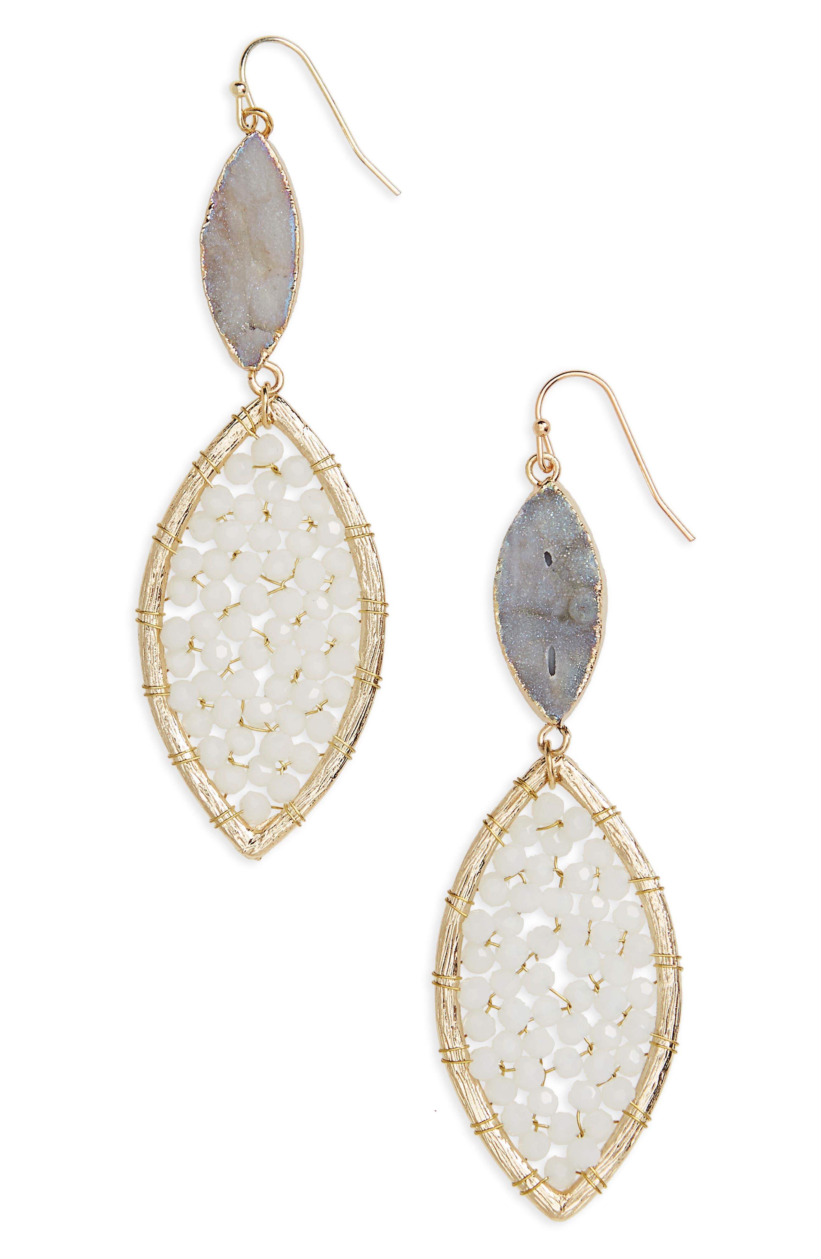 Sunstone Crystal Drop Earrings,                         Main,                         color, White