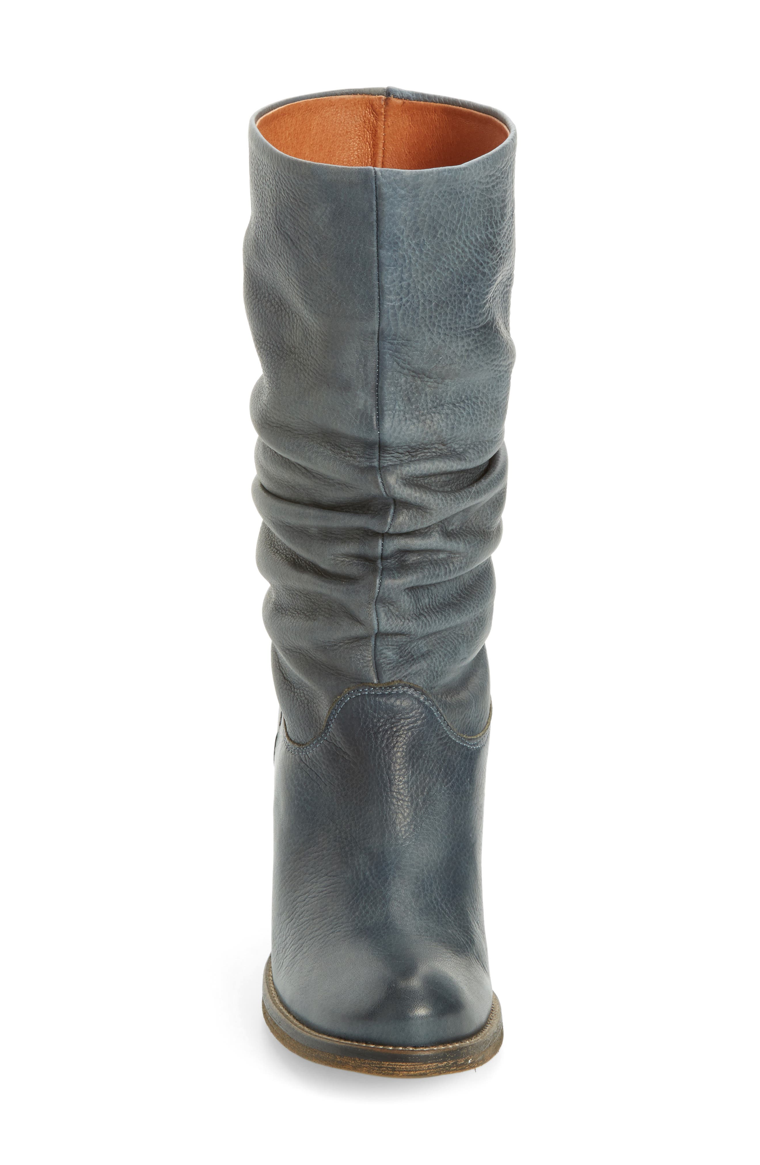 Tell It Block Heel Boot,                             Alternate thumbnail 4, color,                             Blue Leather