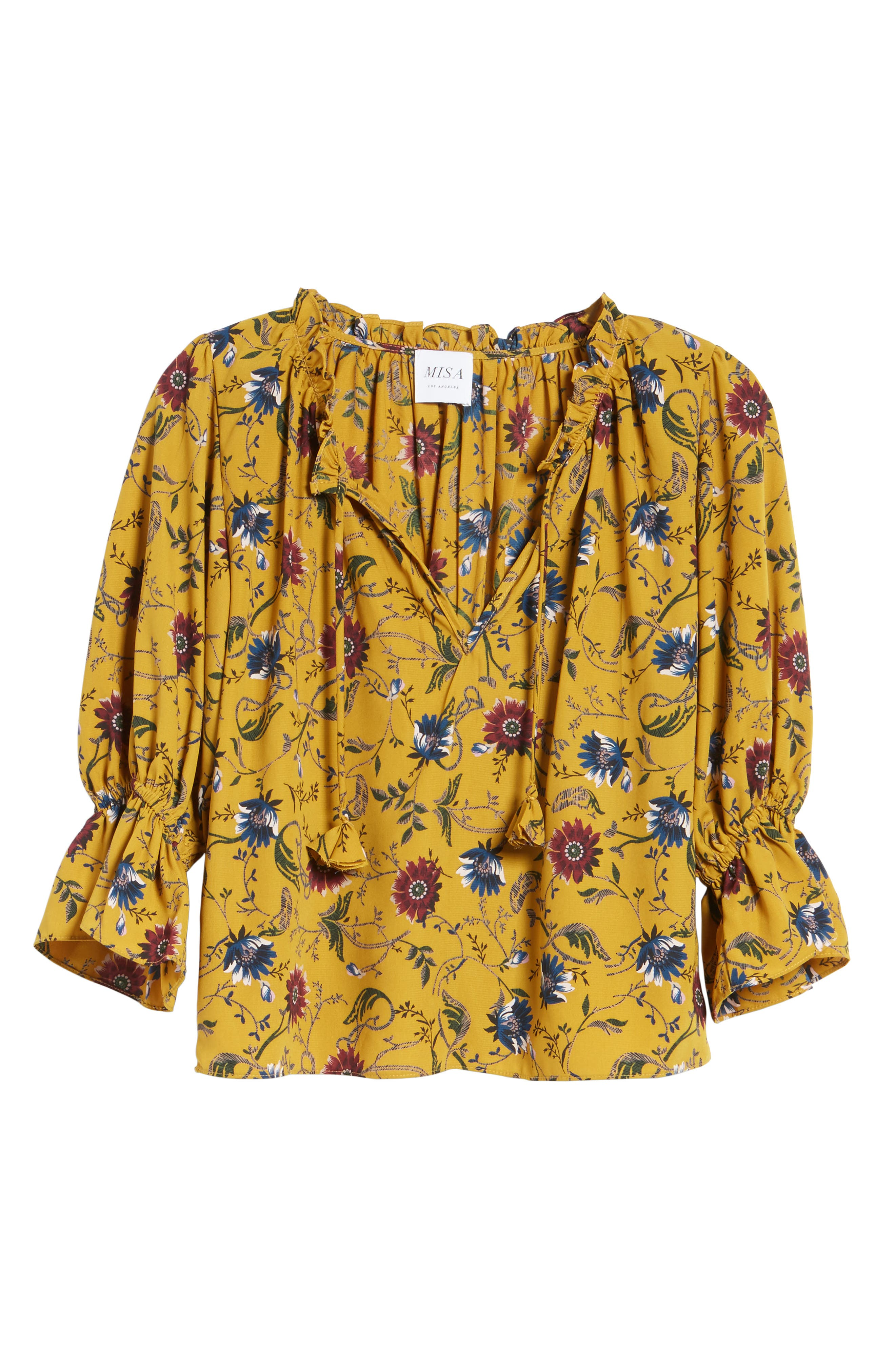 Danee Floral Top,                             Alternate thumbnail 6, color,                             Marigold/ Ivory