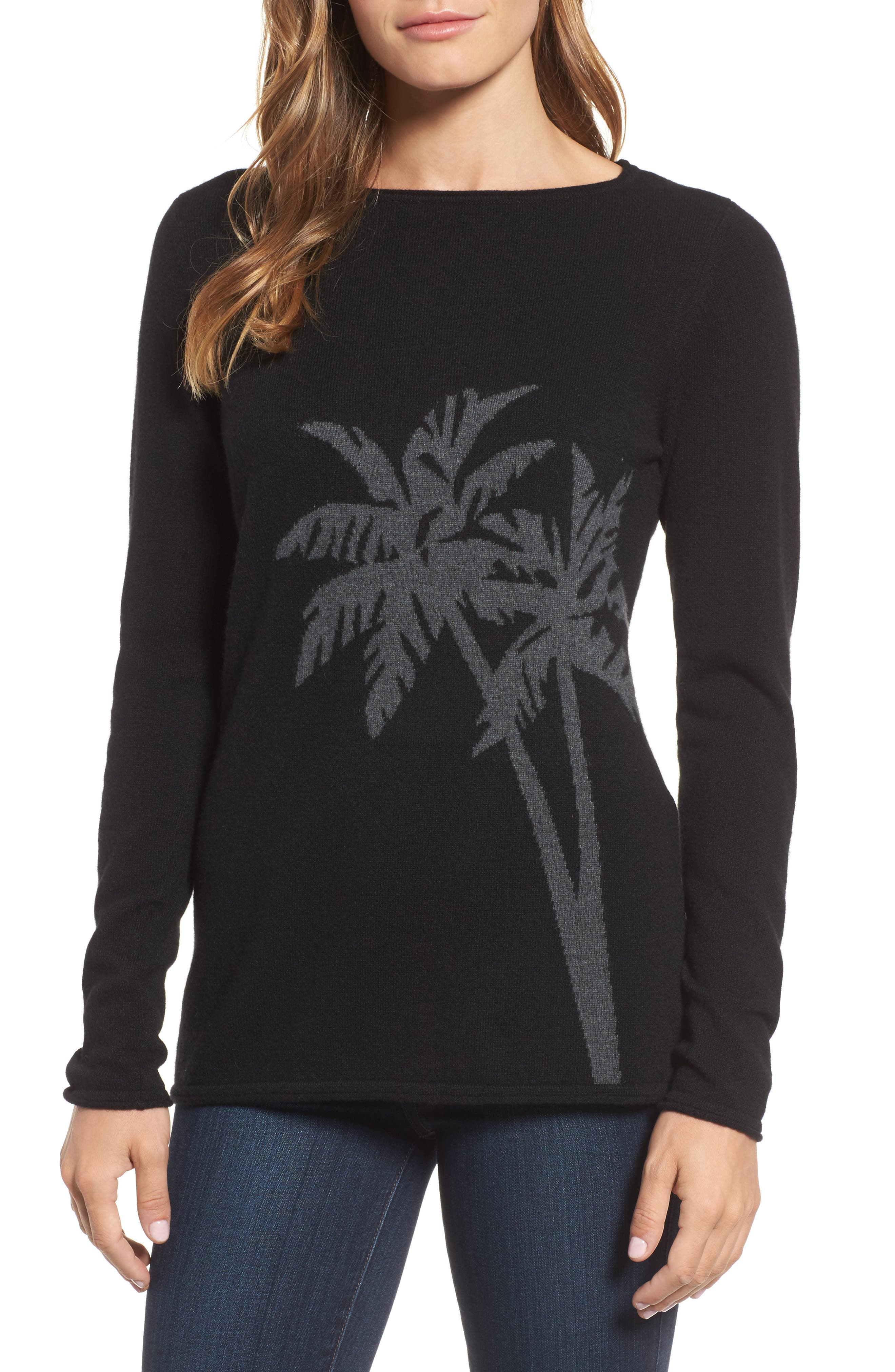 Main Image - Tommy Bahama Island Palm Intarsia Cashmere Pullover