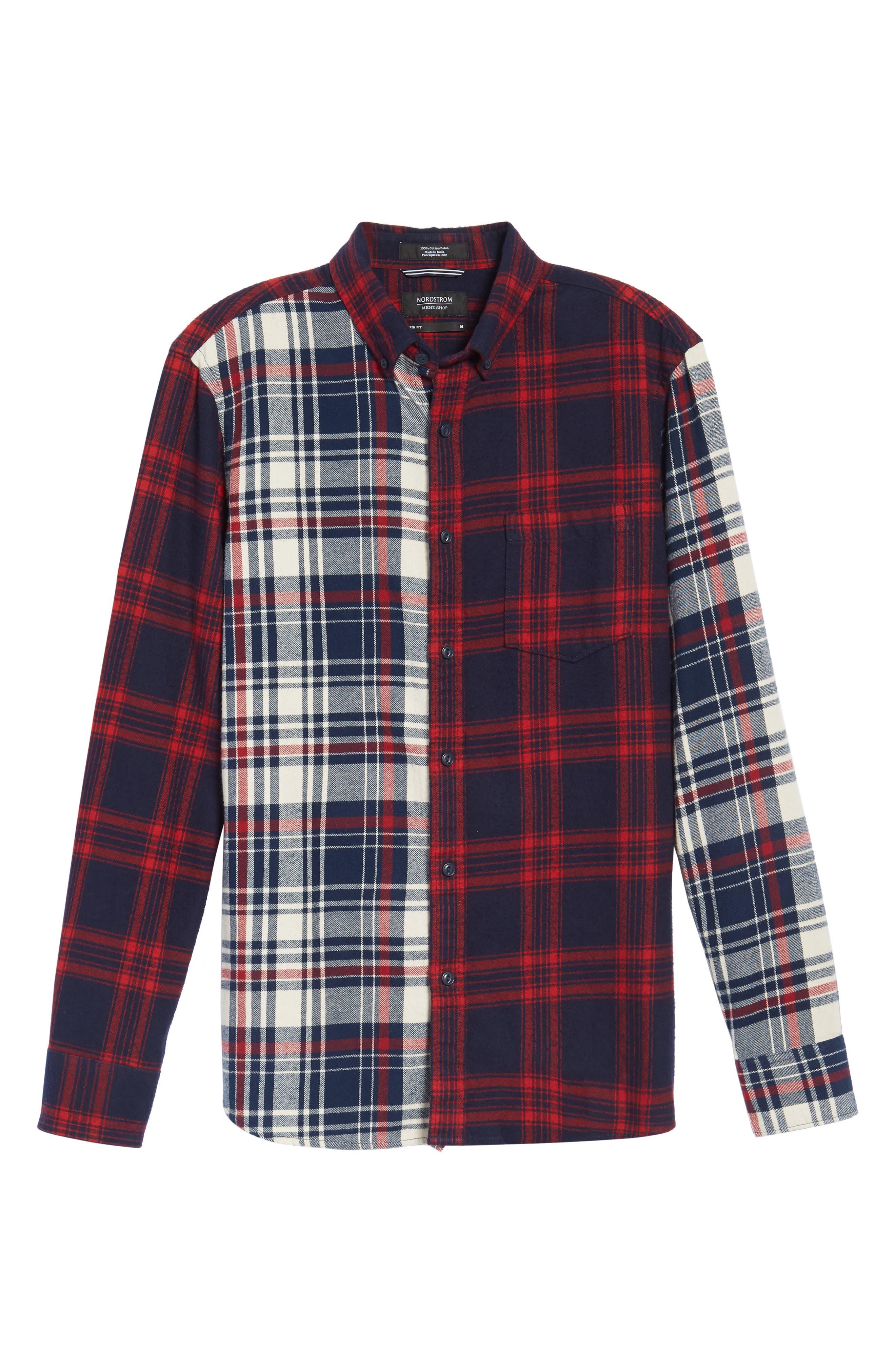 Alternate Image 6  - Nordstrom Men's Shop Trim Fit Patchwork Sport Shirt