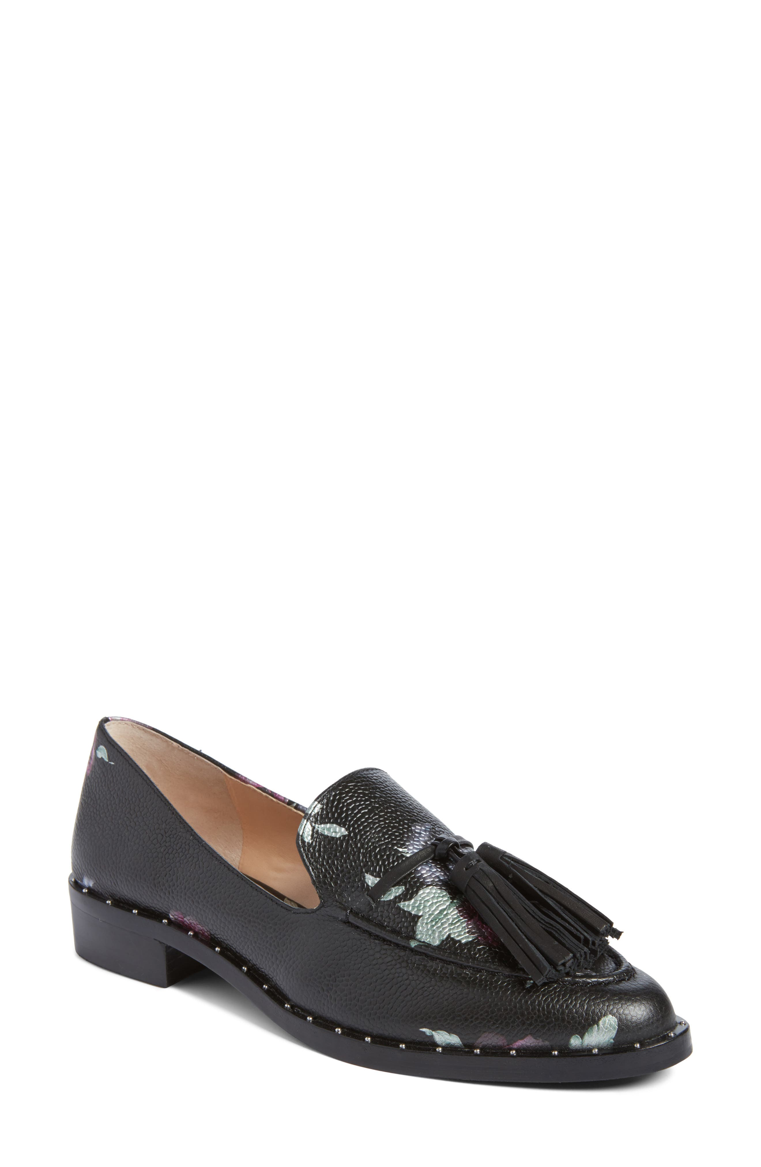 Geralin Tassel Loafer,                             Main thumbnail 1, color,                             Black Floral Print Leather