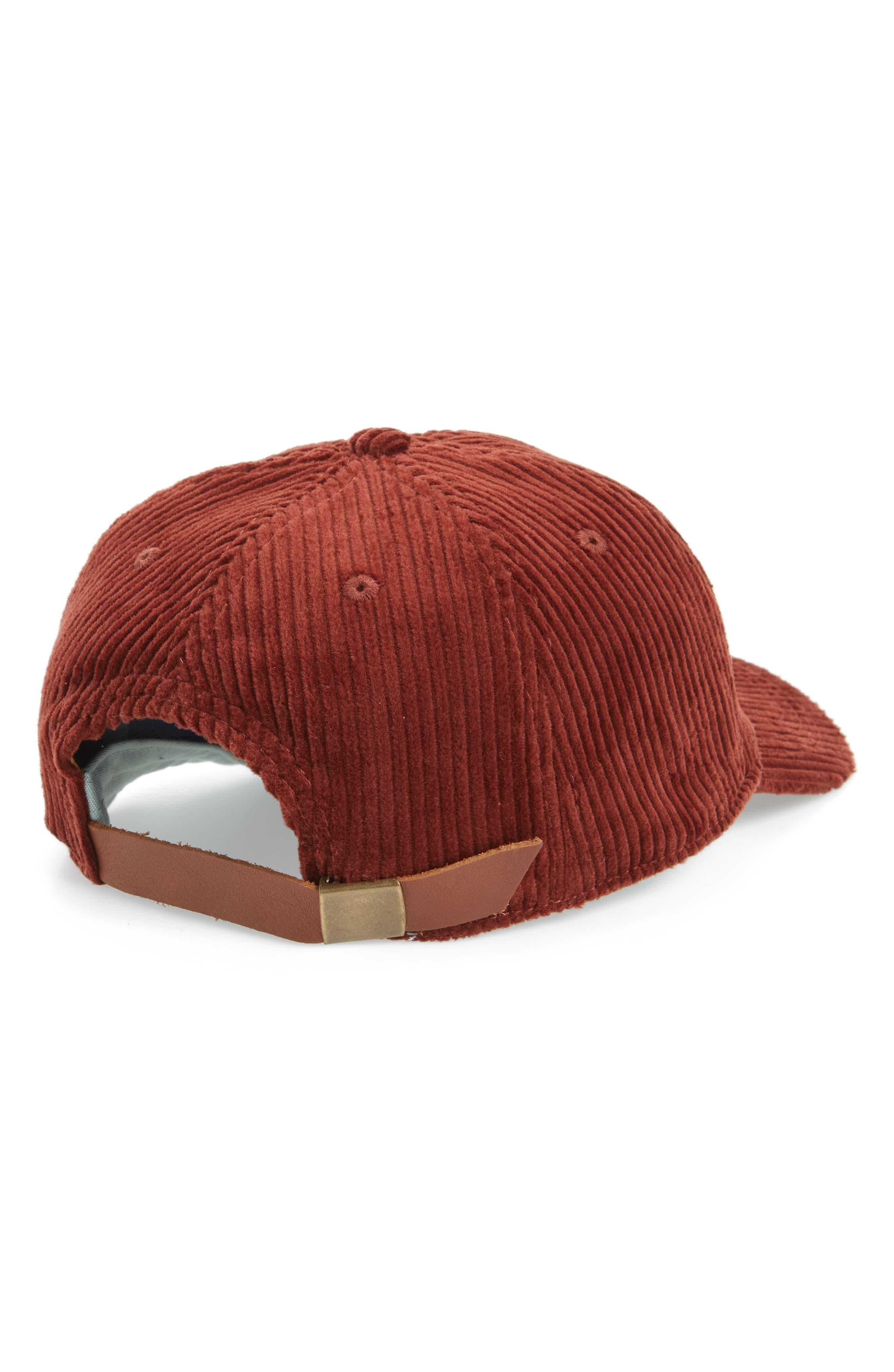 Corduroy Baseball Cap,                             Alternate thumbnail 2, color,                             Burnished Mahogany