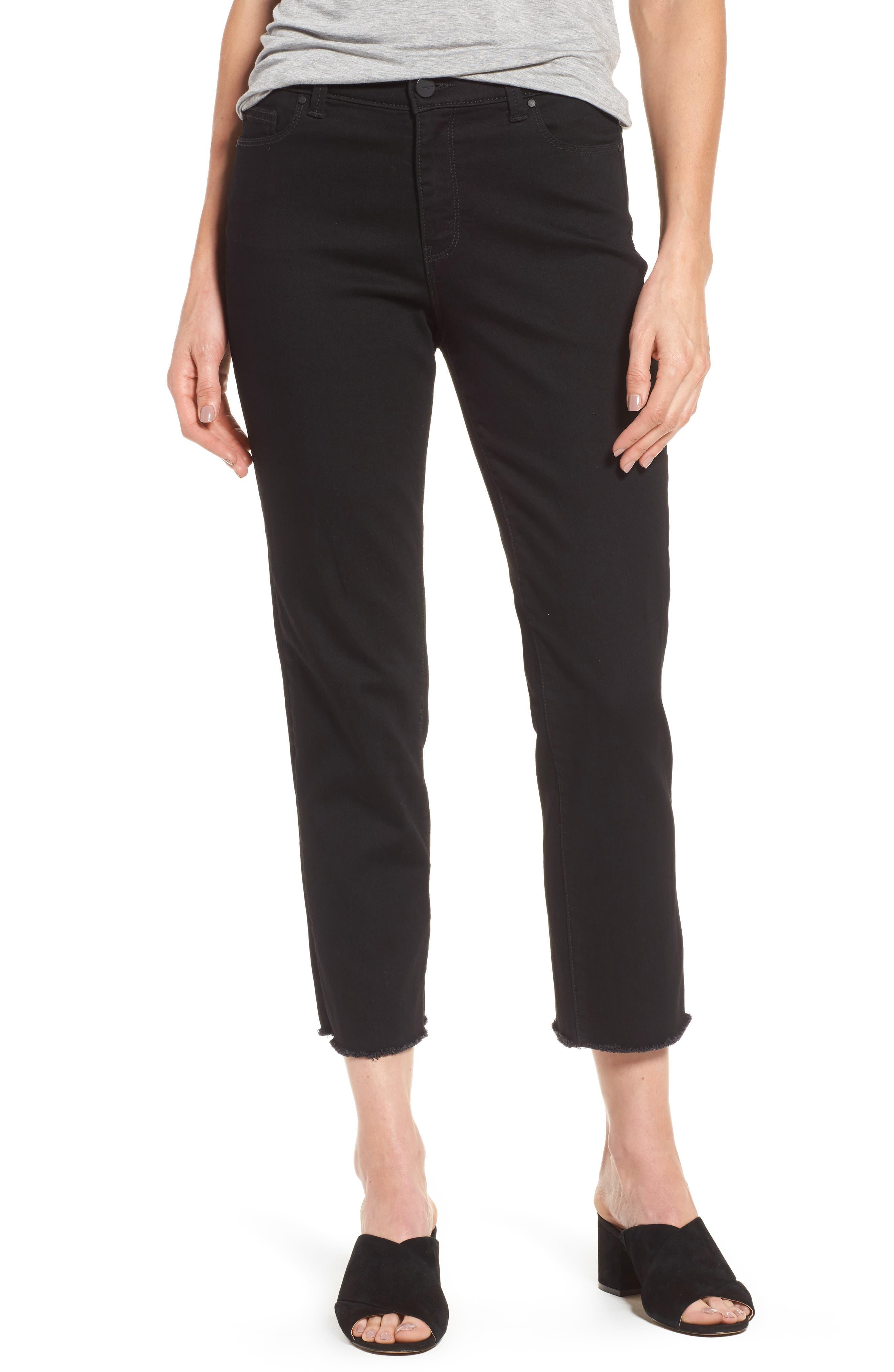 Halogen® High Rise Straight Leg Crop Jeans (Petite)