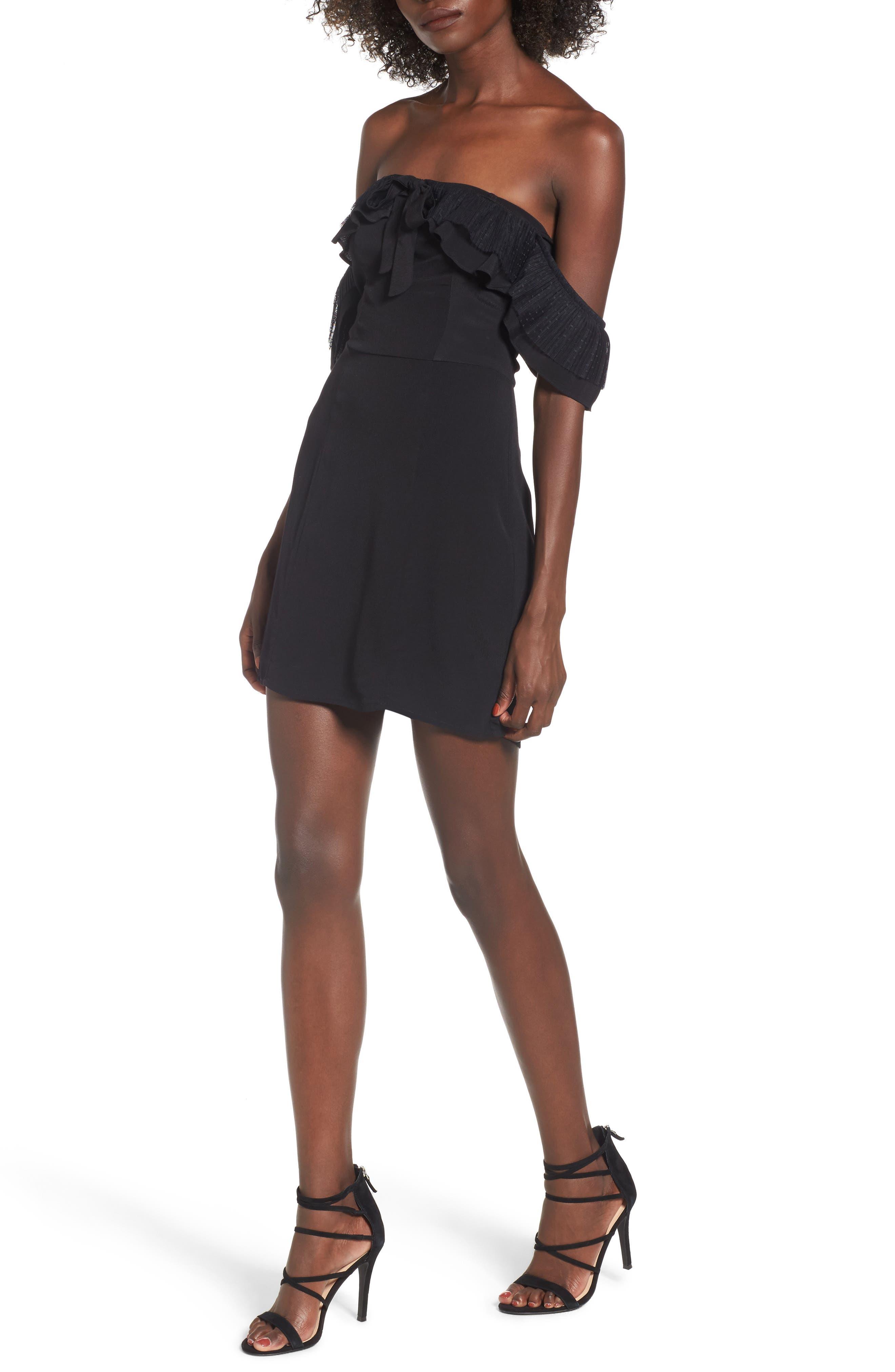 Claire Off the Shoulder Minidress,                         Main,                         color, Black