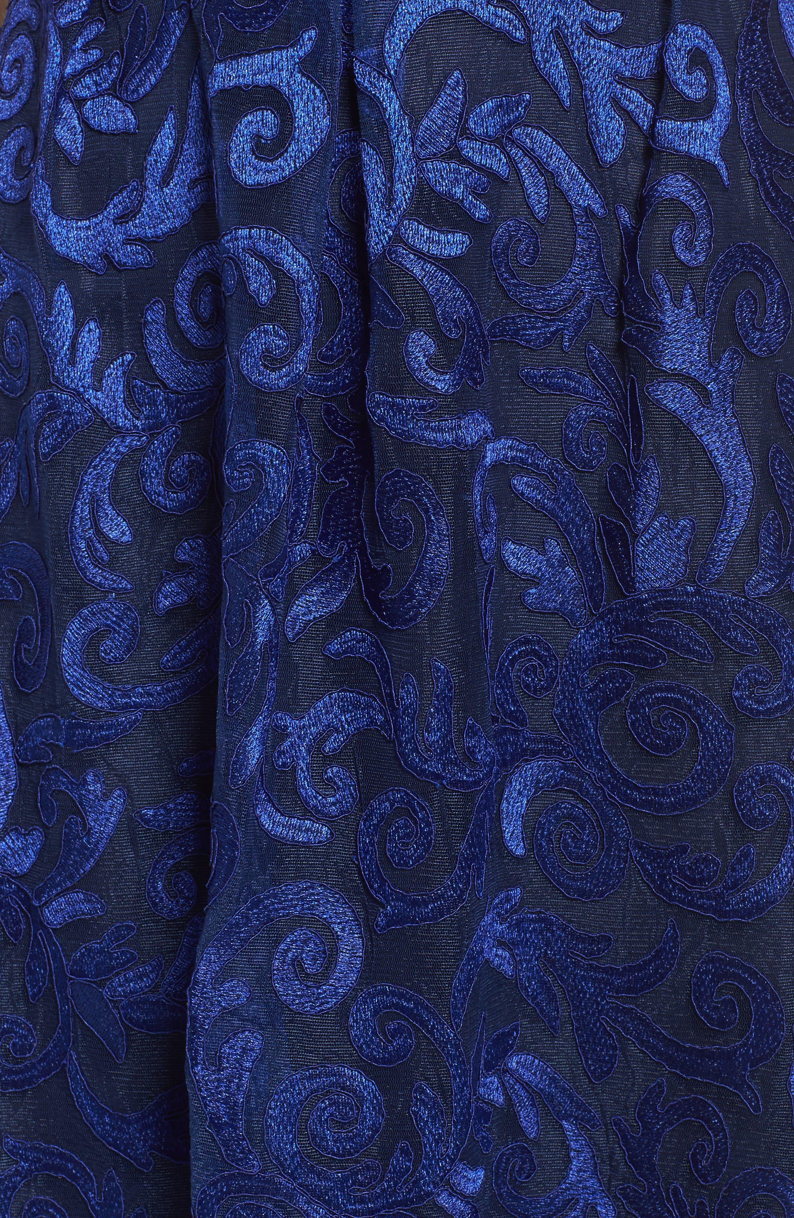 Floral Scroll Embroidered Cocktail Dress,                             Alternate thumbnail 5, color,                             Cobalt