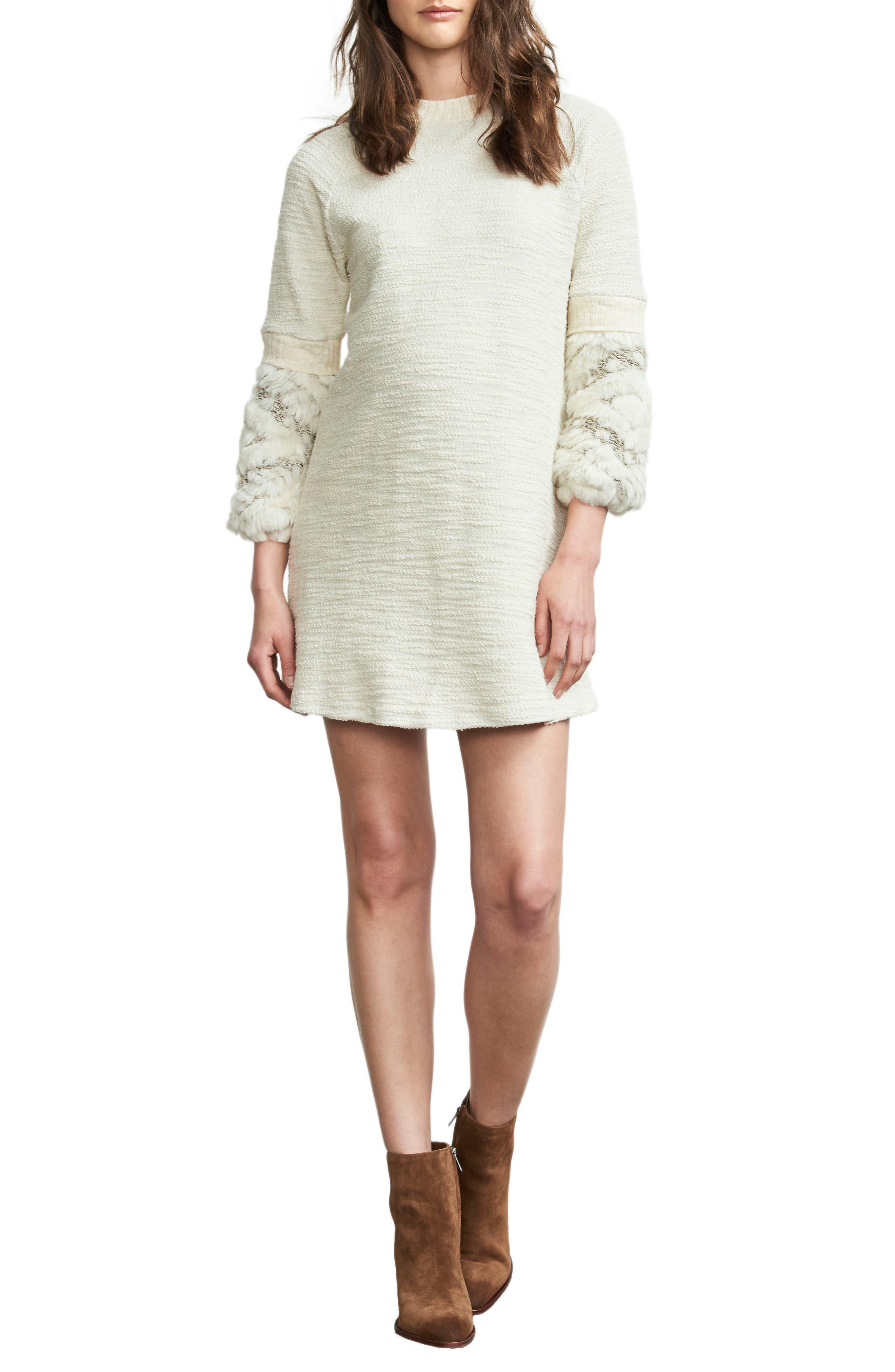 Faux Fur Trim Maternity Dress,                         Main,                         color, Cream