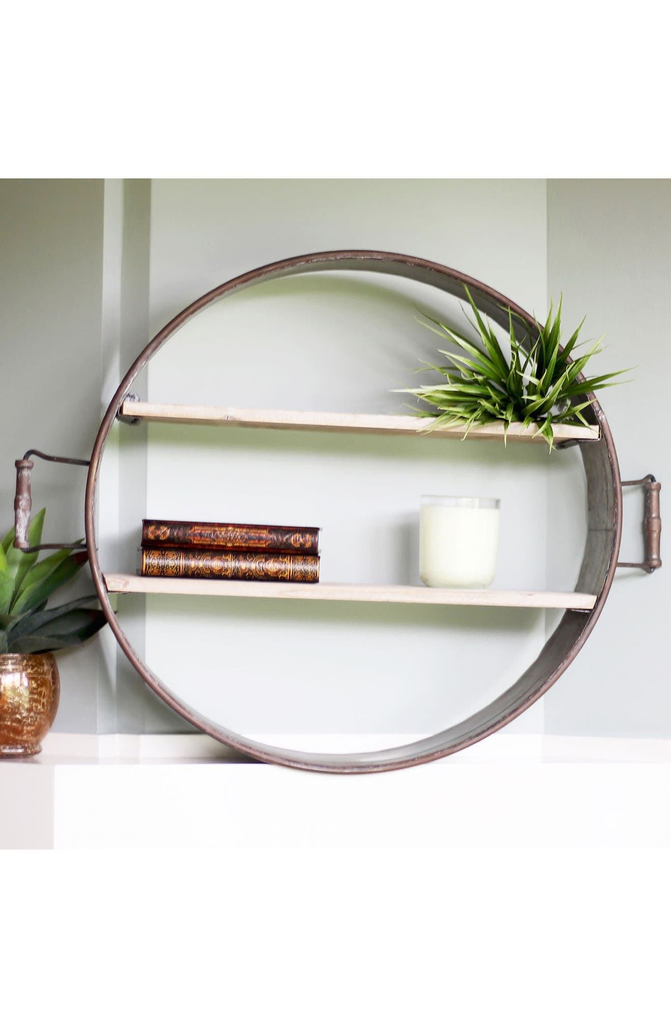 Brimfield Round Shelf,                             Alternate thumbnail 2, color,                             Metal/ Wood