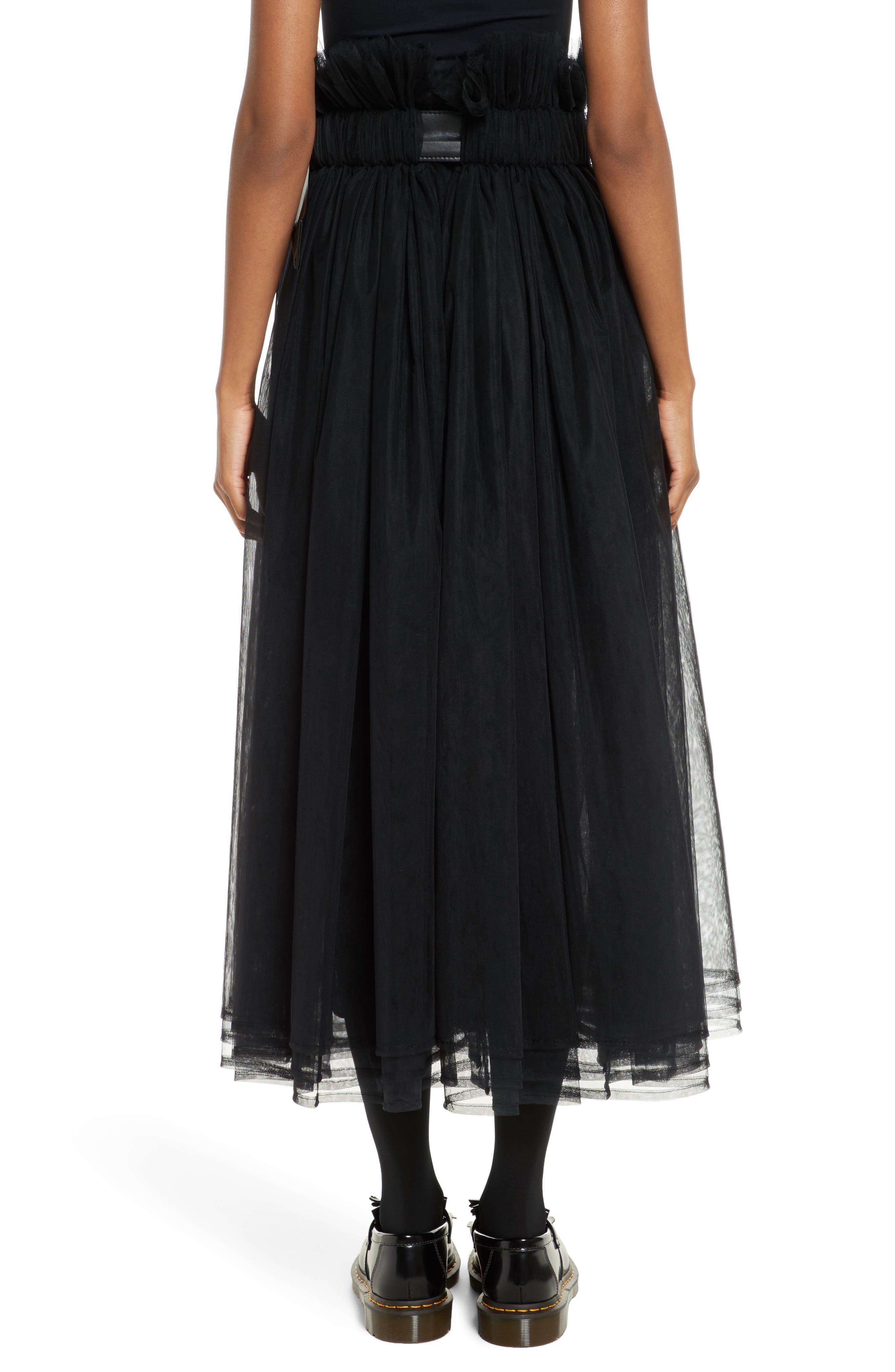 Tulle Midi Skirt,                             Alternate thumbnail 2, color,                             Black