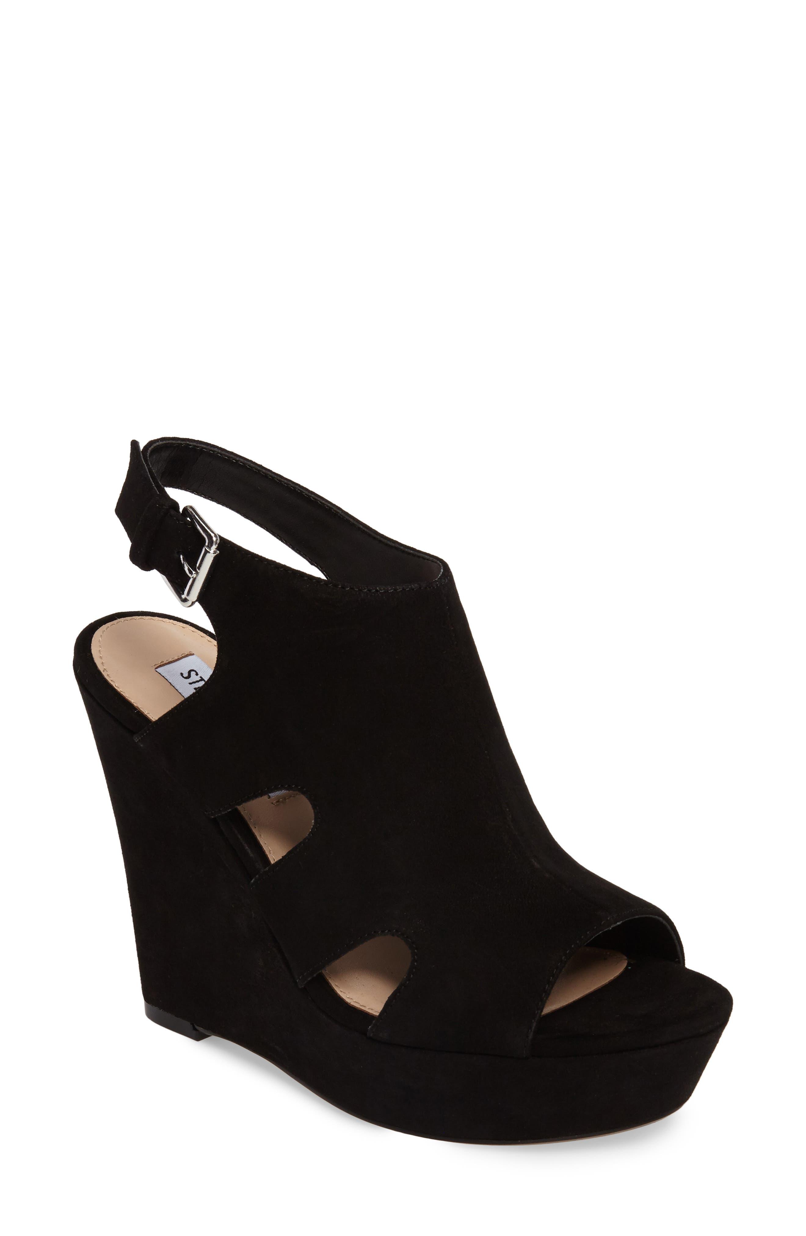 Emmy Wedge Sandal,                         Main,                         color, Black Suede