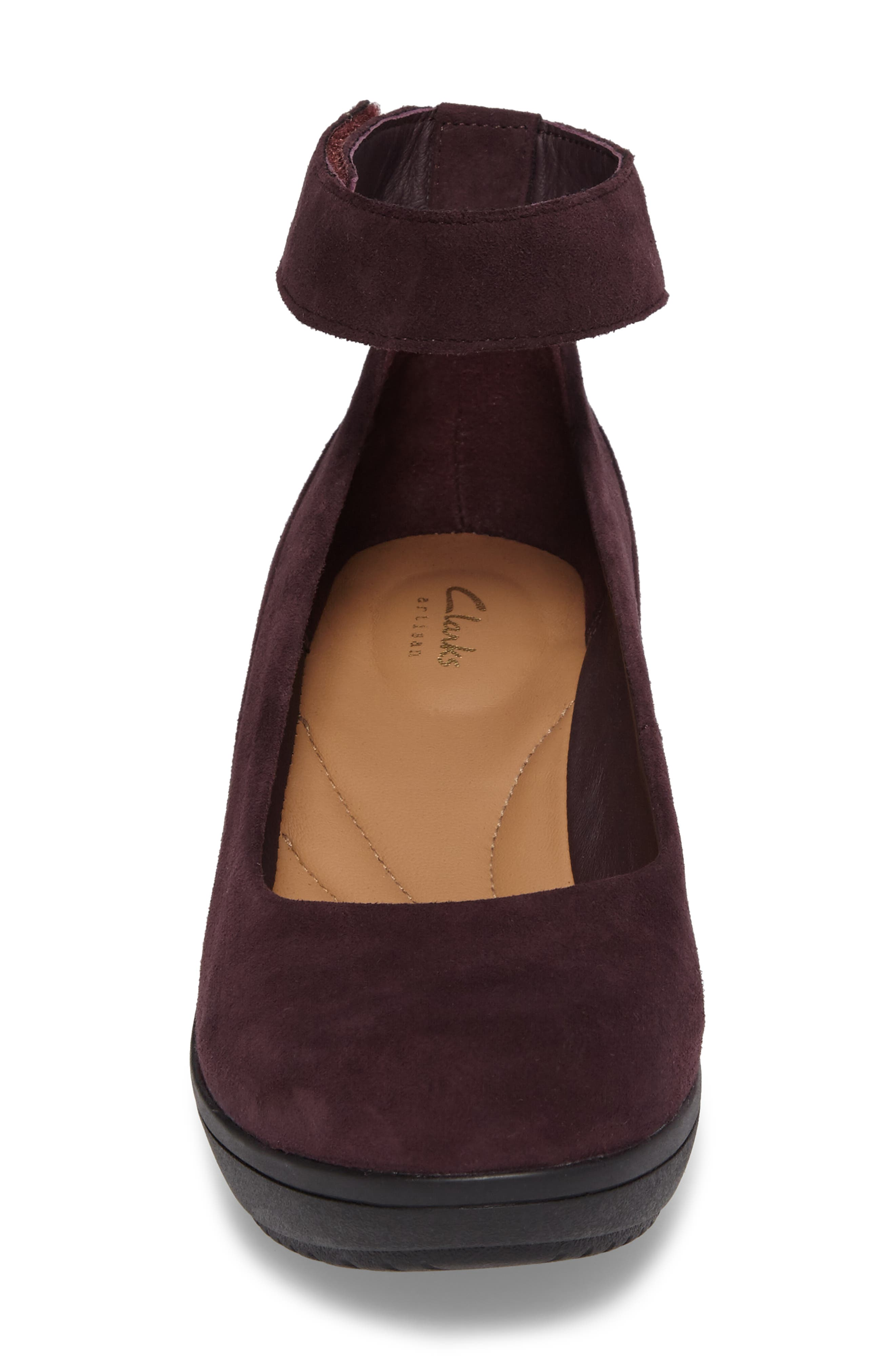 Wynnmere Fox Ankle Strap Pump,                             Alternate thumbnail 4, color,                             Aubergine Suede