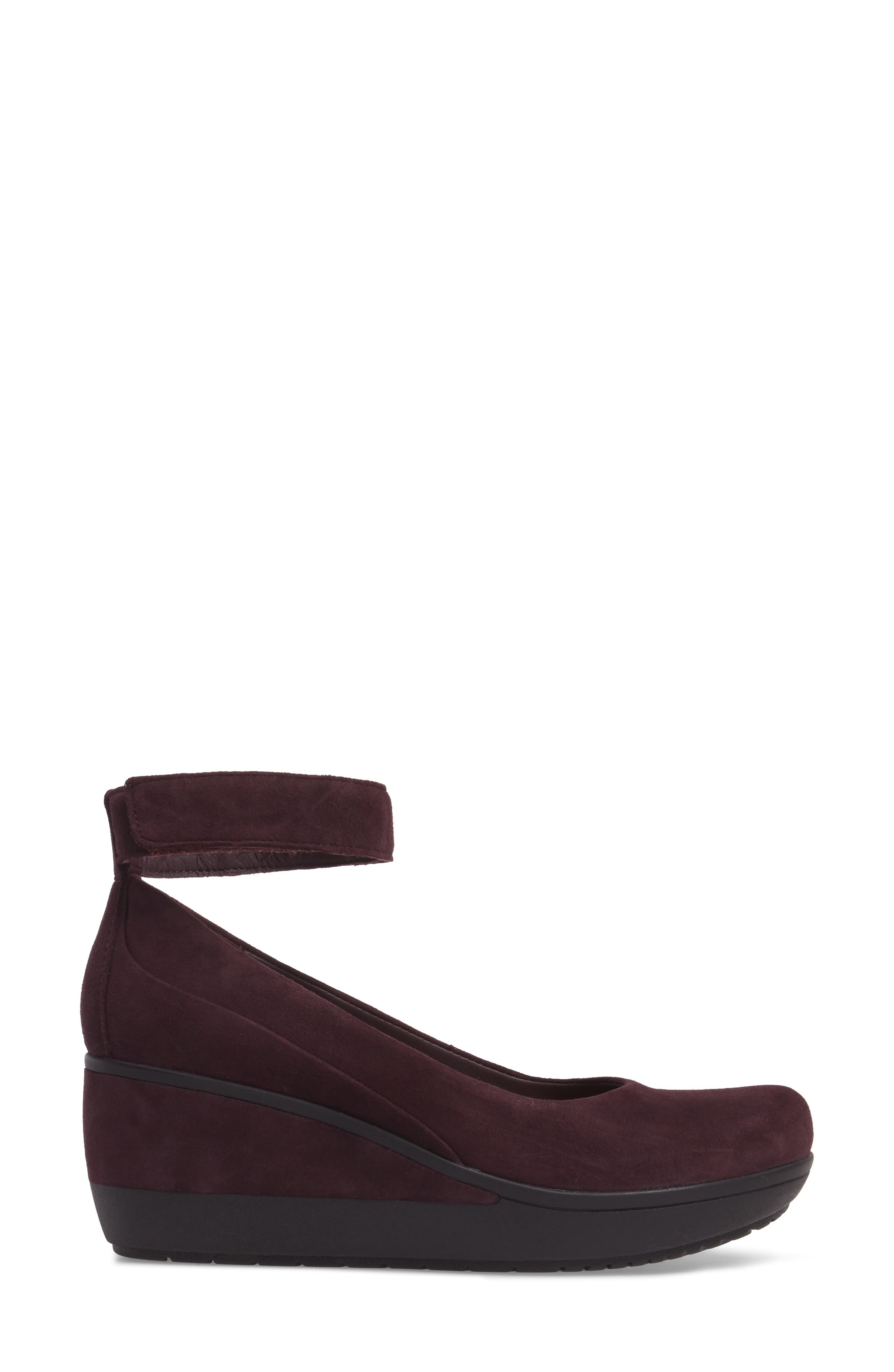 Wynnmere Fox Ankle Strap Pump,                             Alternate thumbnail 3, color,                             Aubergine Suede