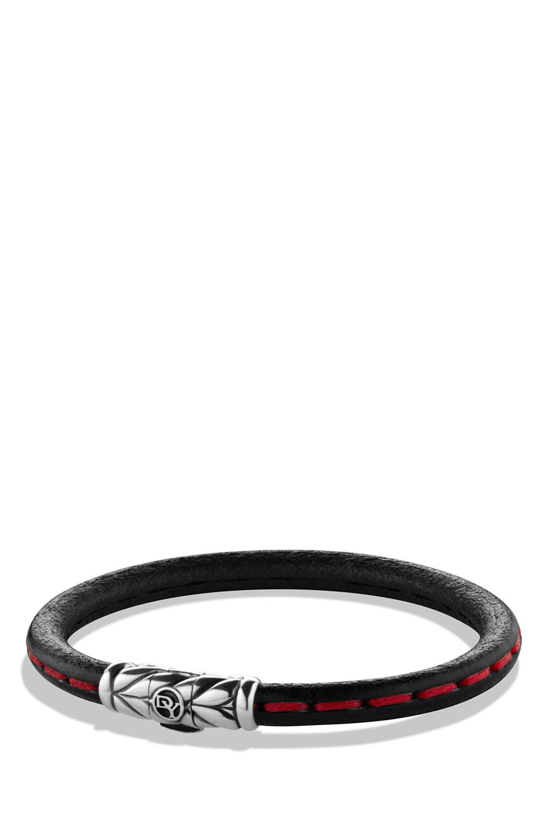 'Chevron' Leather Bracelet,                             Main thumbnail 1, color,                             Red Stitch