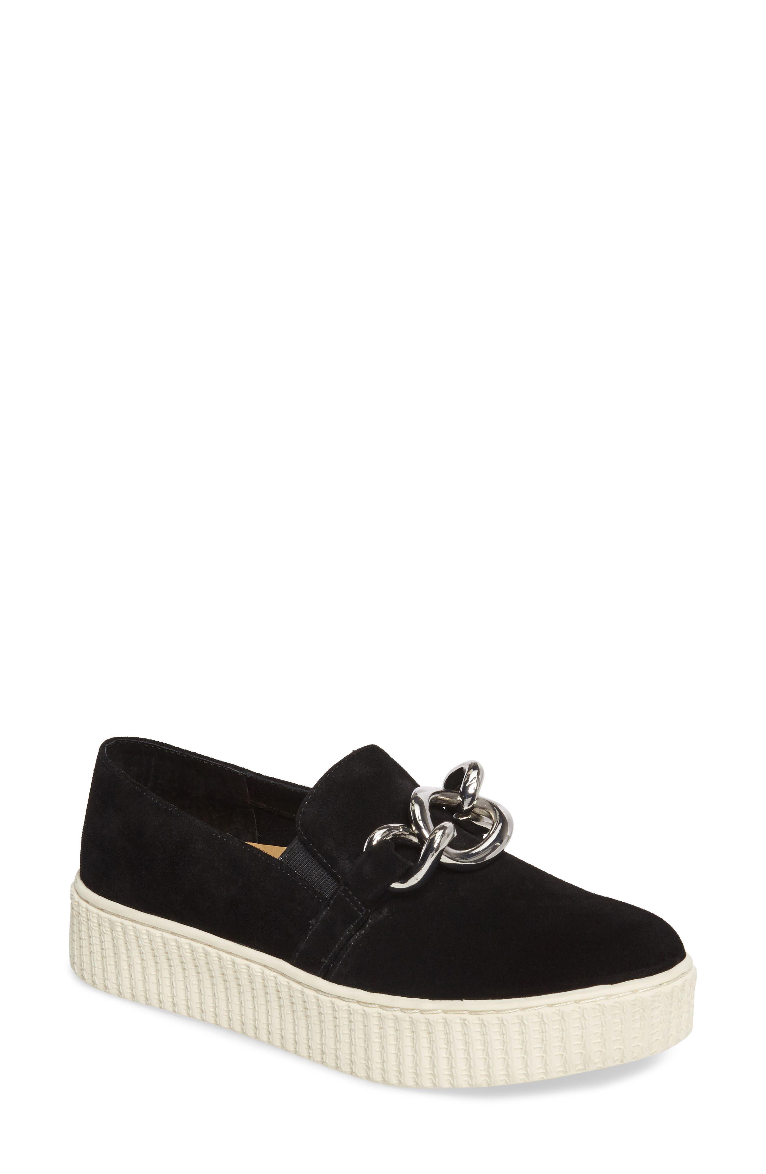 Roberta Platform Sneaker,                         Main,                         color, Black Suede