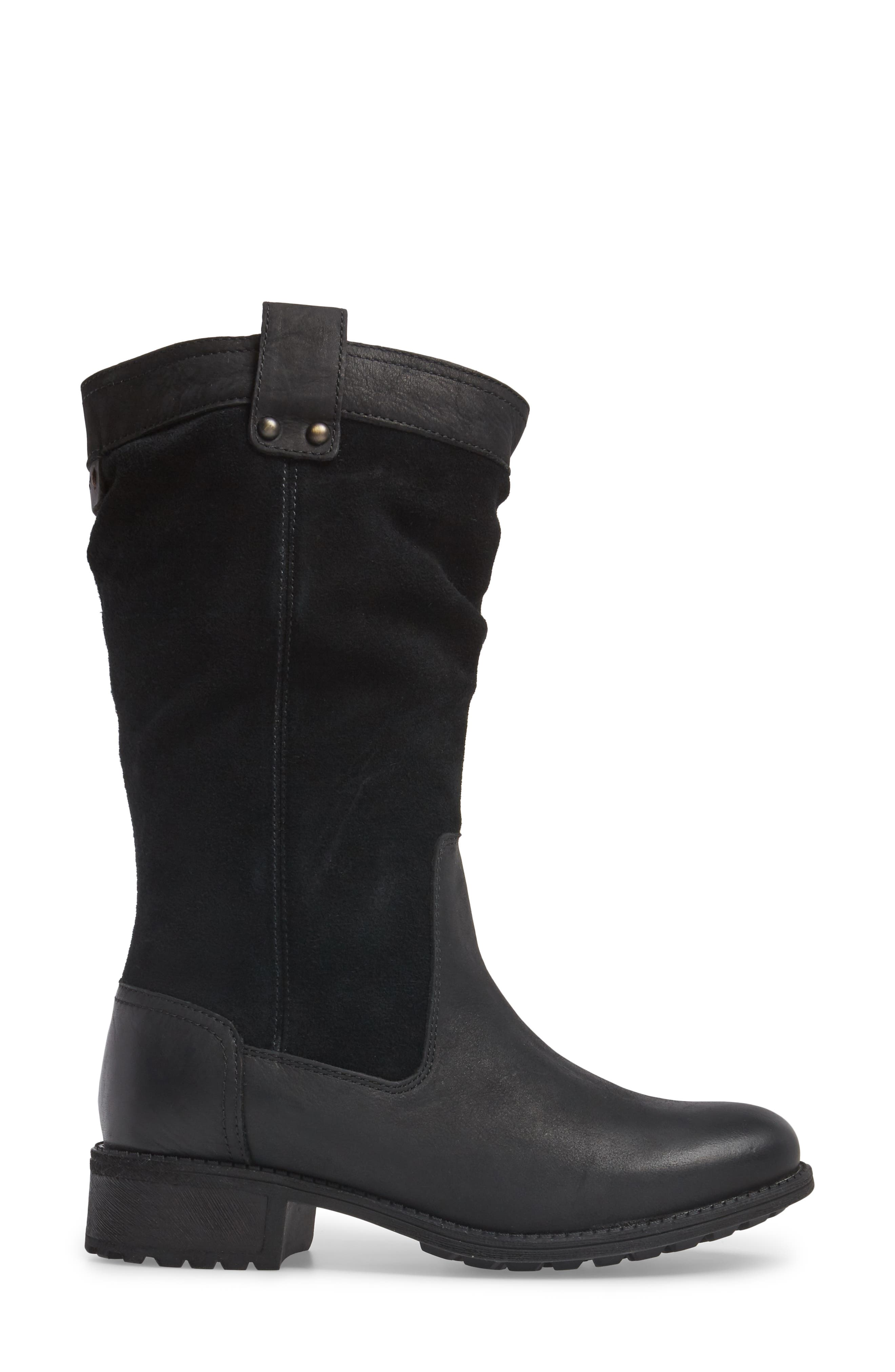 Bruckner Water Resistant Slouch Boot,                             Alternate thumbnail 3, color,                             Black Leather