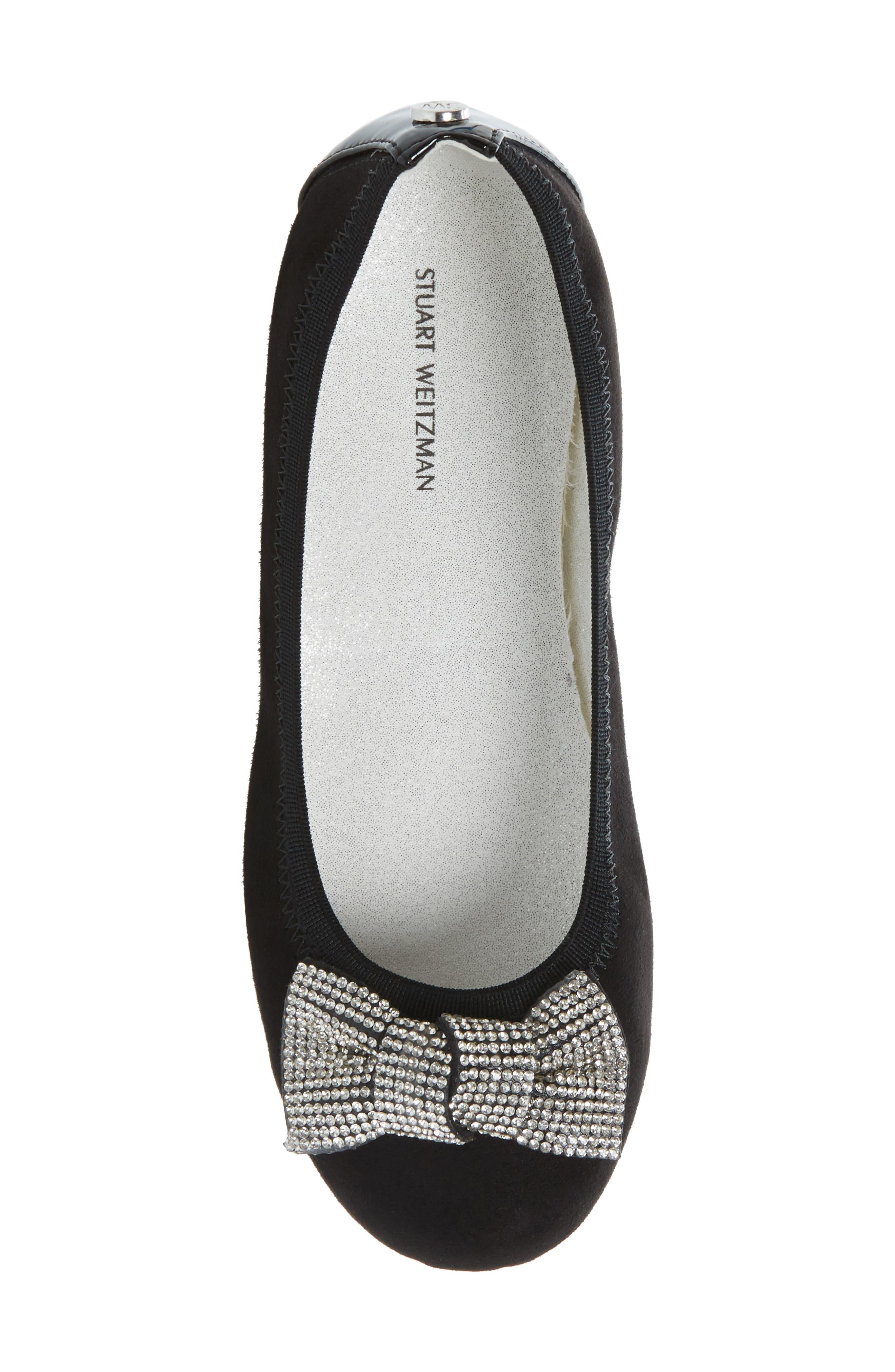 Fannie Glitz Ballet Flat,                             Alternate thumbnail 5, color,                             Black Faux Leather