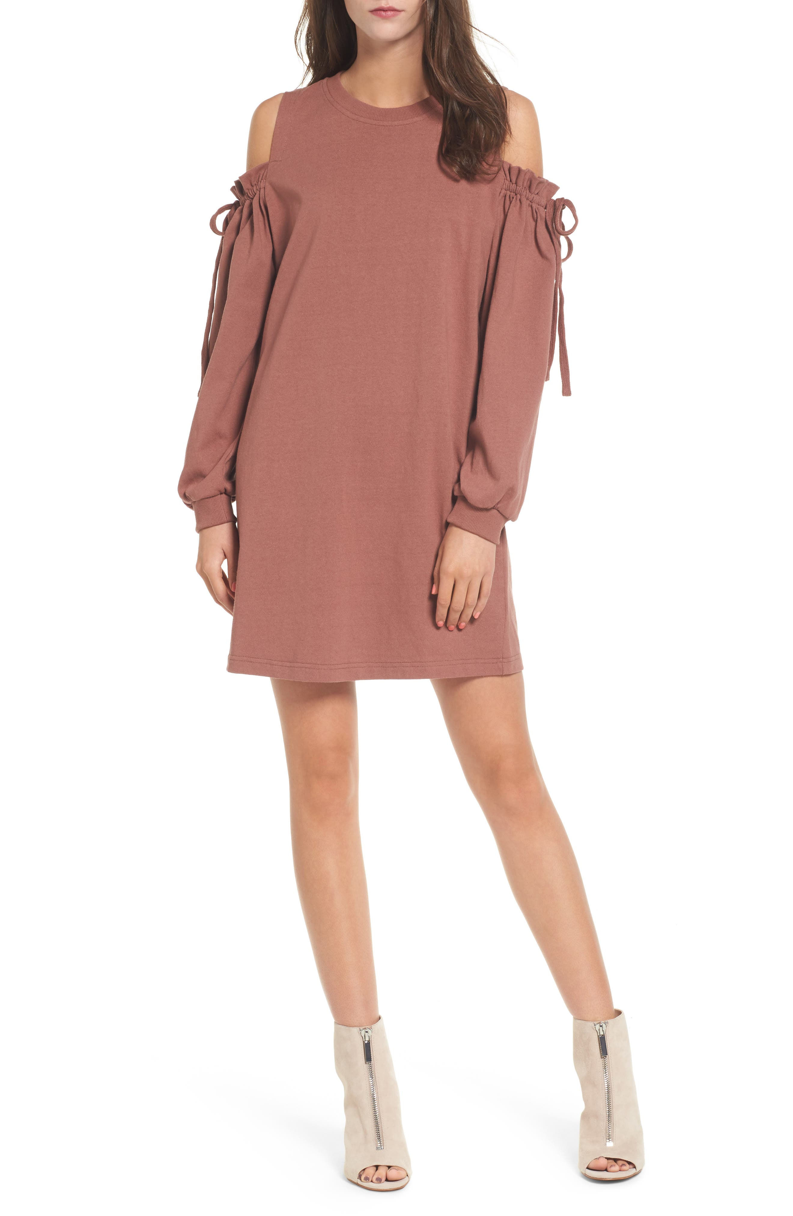 Lush Cold Shoulder Sweatshirt Dress