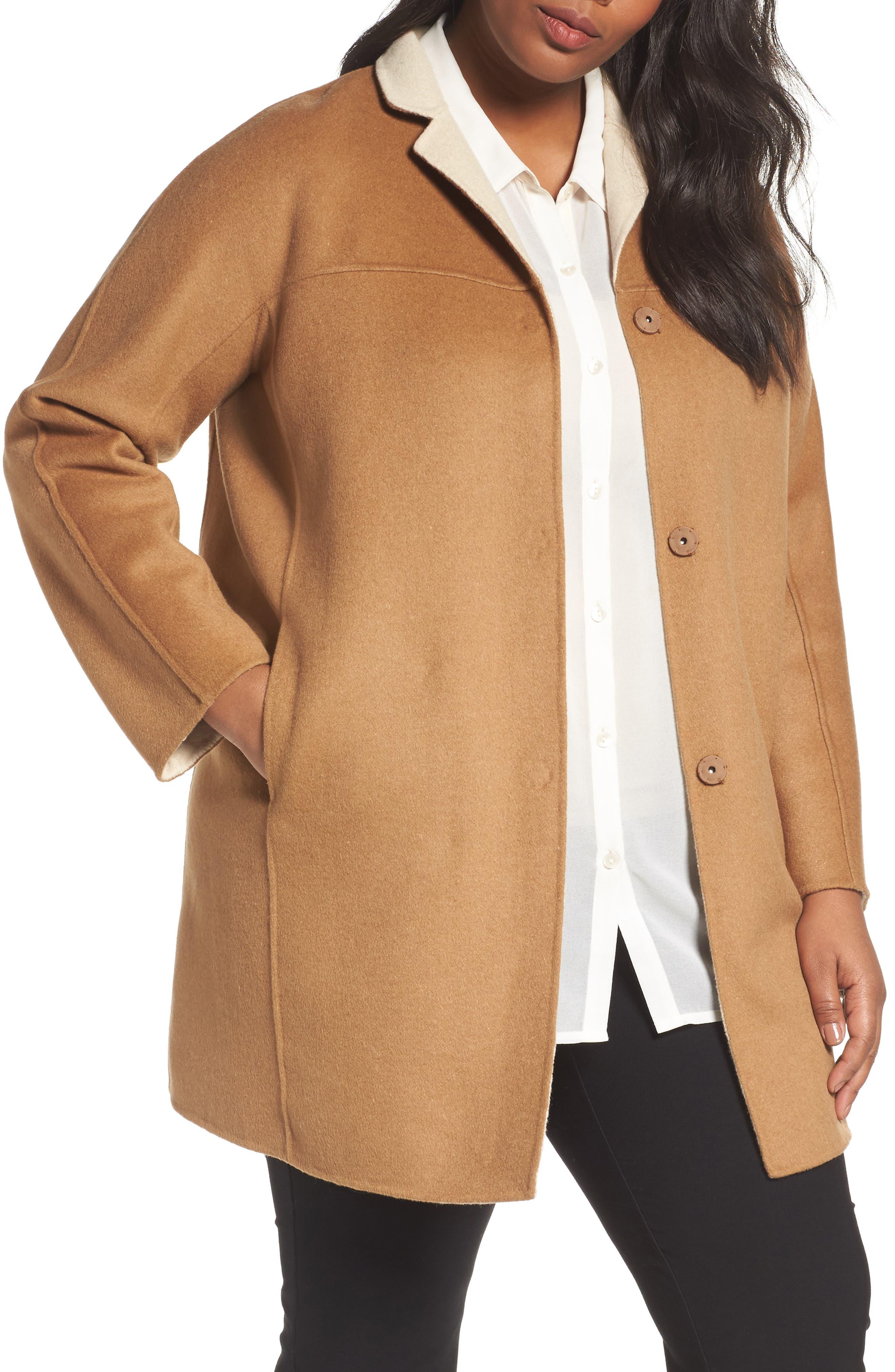 Nina Double Face Wool Blend Coat,                         Main,                         color, Hazelnut