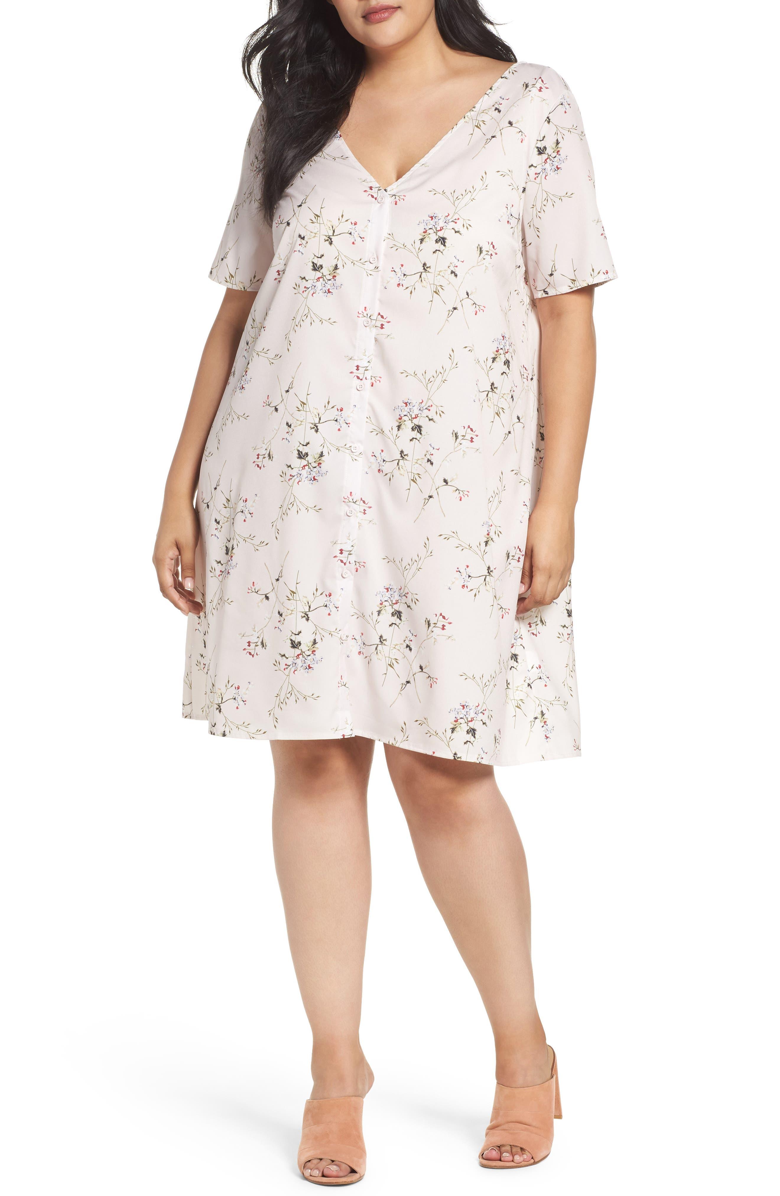 Glamorous Button Front Floral Shift Dress (Plus Size)