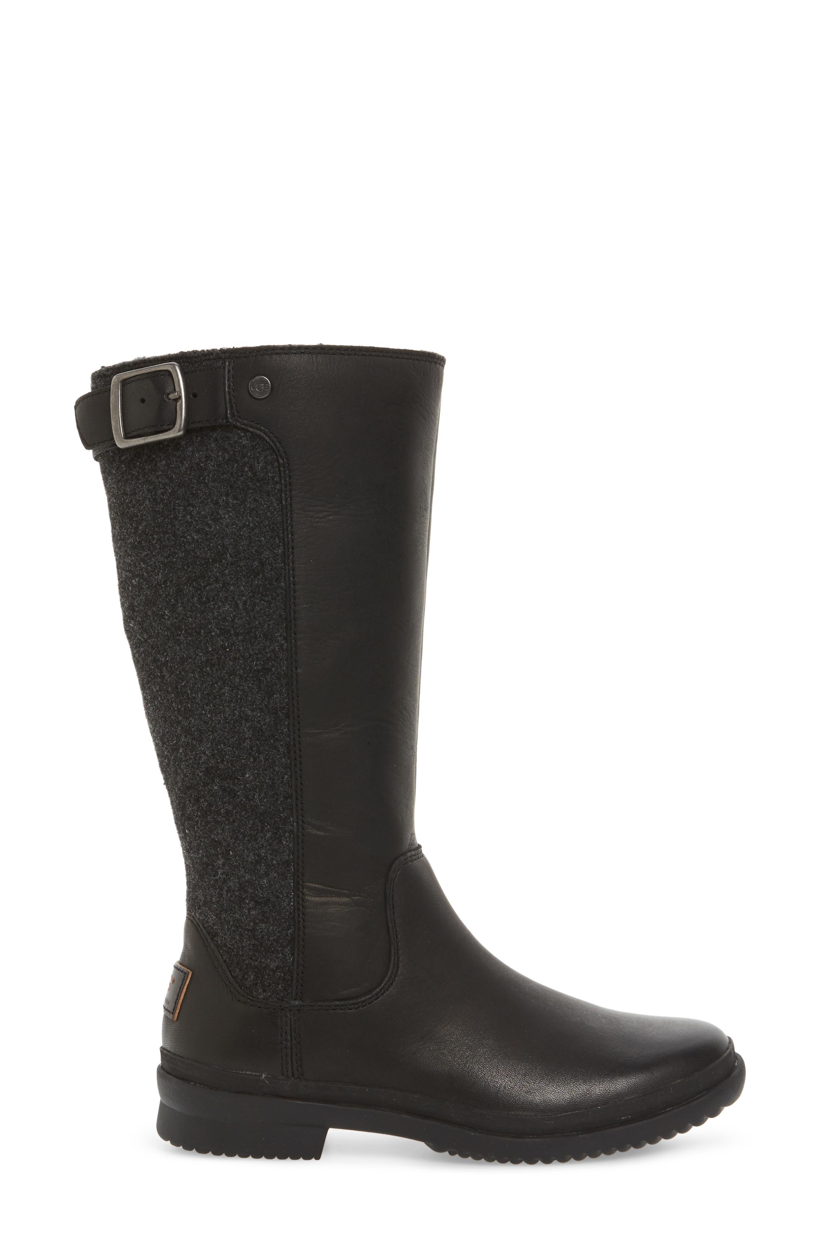 Janina Rain Boot,                             Alternate thumbnail 3, color,                             Black Leather