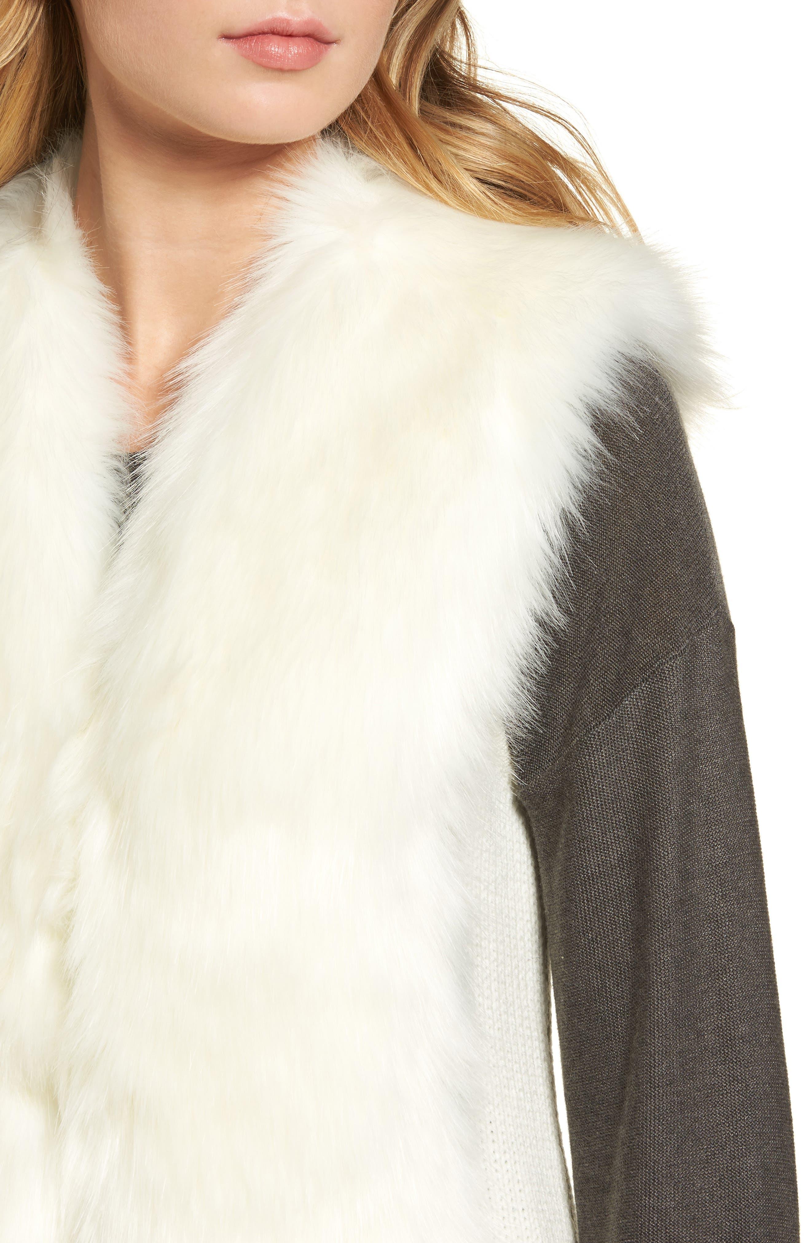 Alternate Image 4  - Love Token Faux Fur Knit Vest