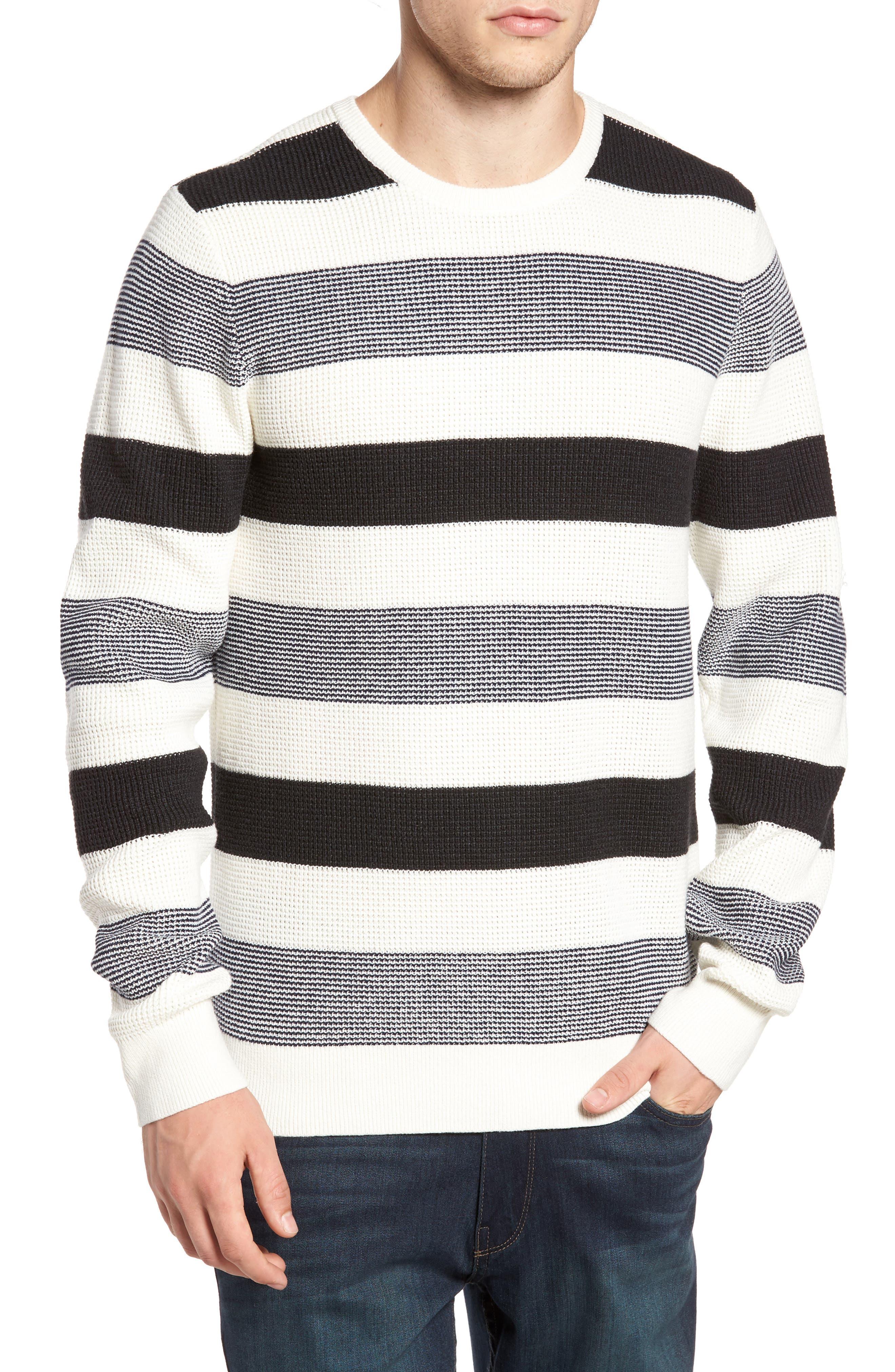 Stripe Waffle Knit Sweater,                             Main thumbnail 1, color,                             Ivory- Grey Large Stripe