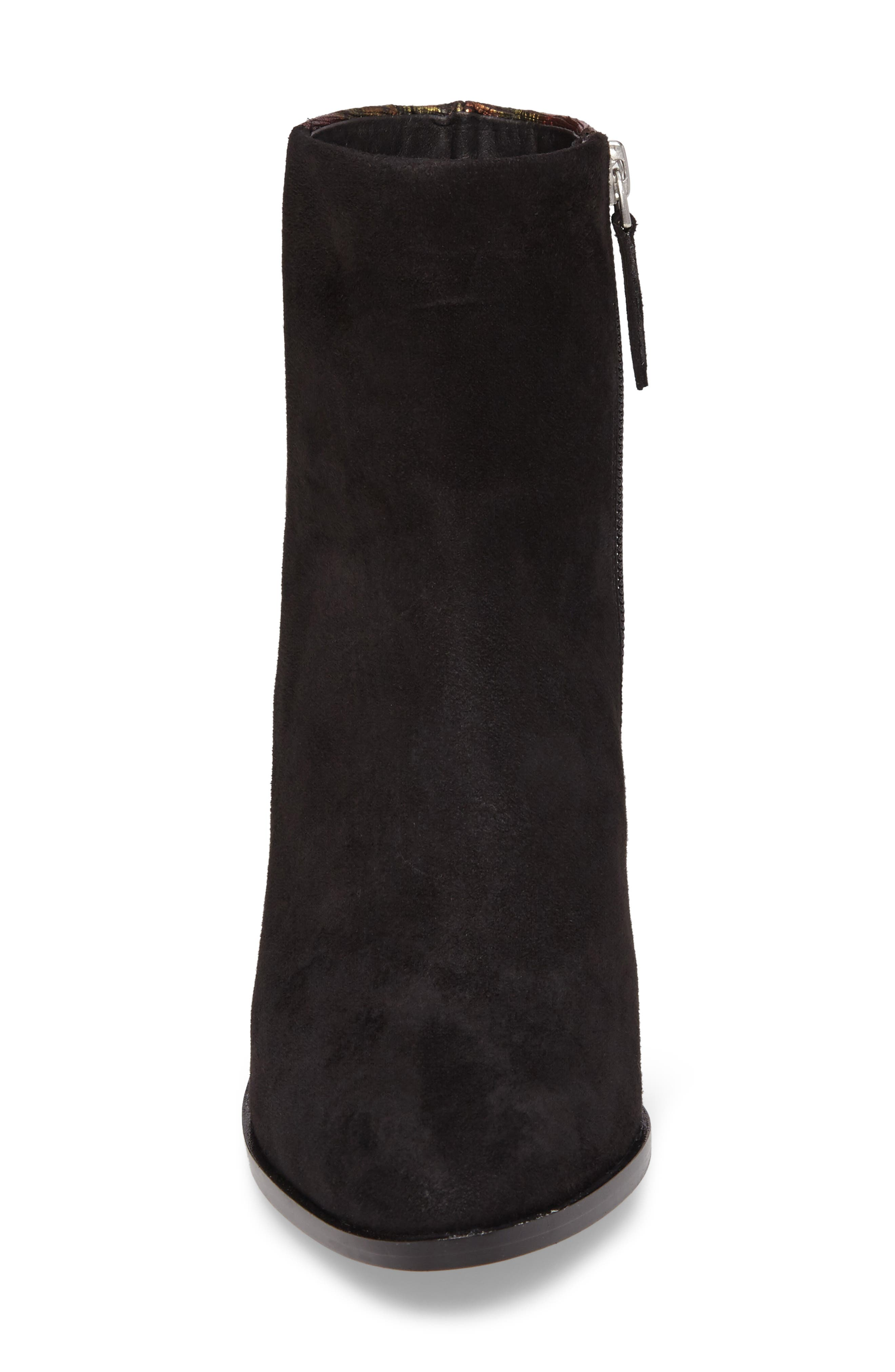 Brady Embellished Boot,                             Alternate thumbnail 4, color,                             Black/ Red Suede