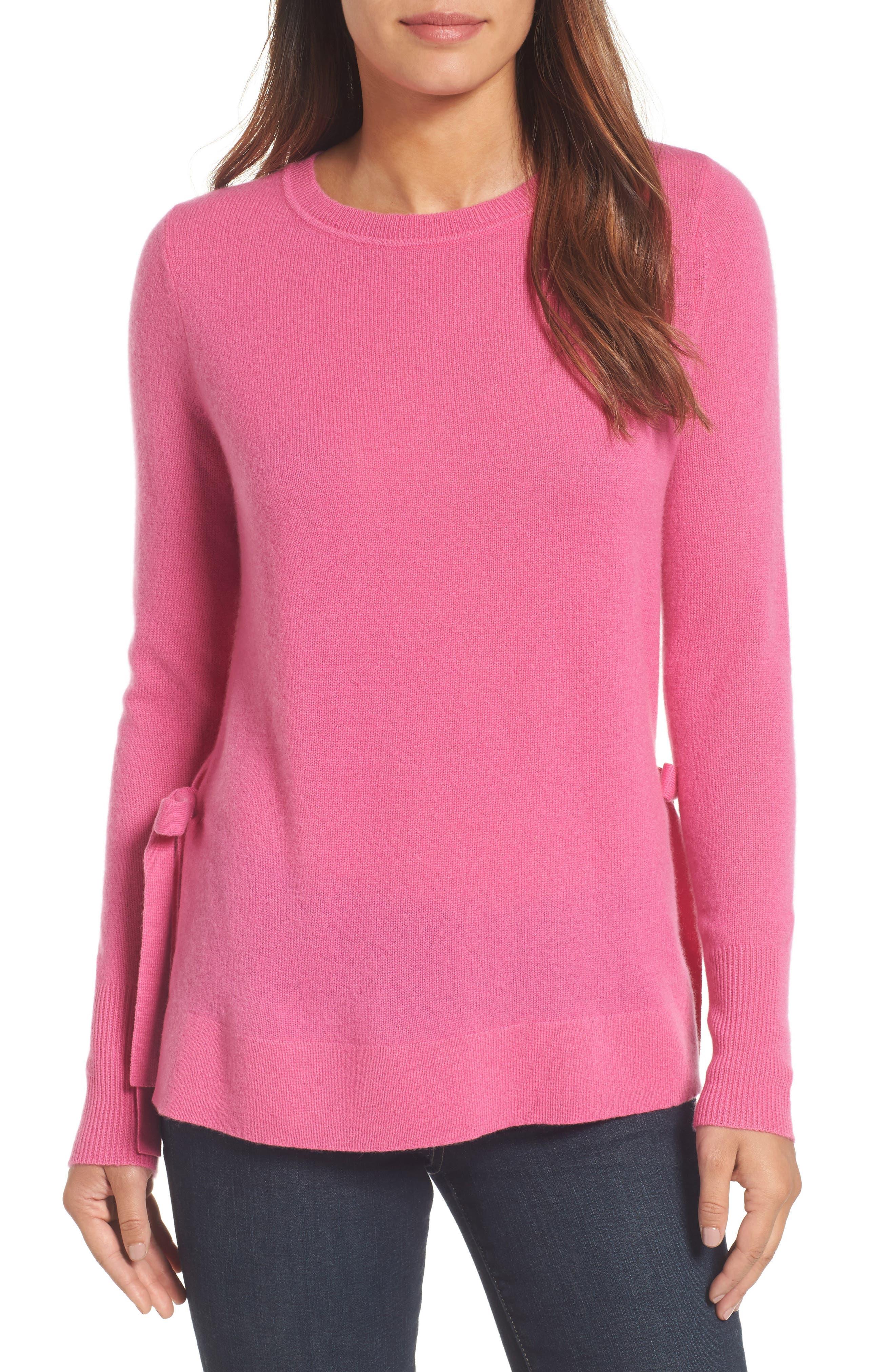 Halogen® Side Tie Cashmere Sweater (Regular & Petite)