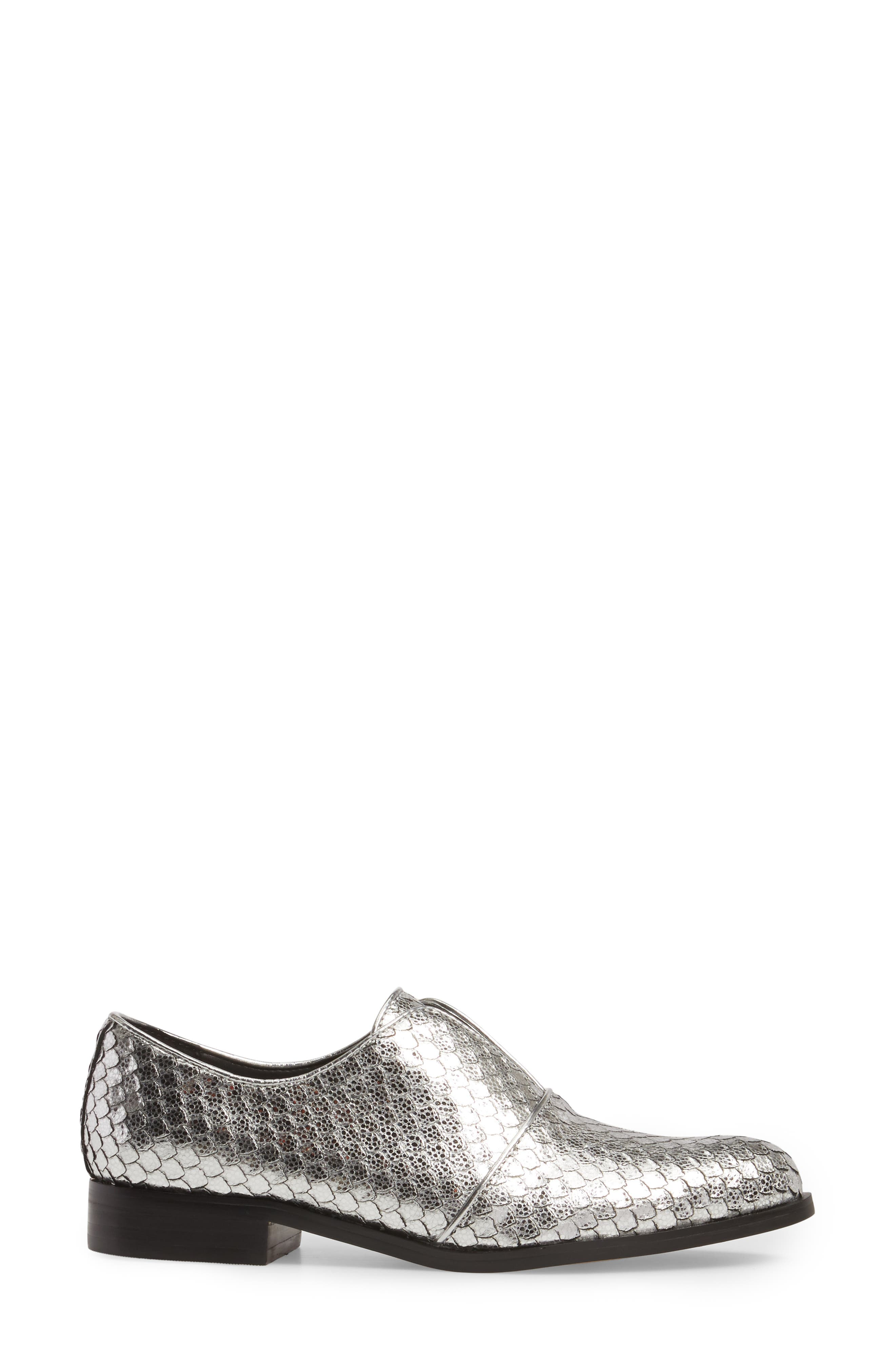 Isola Maria Slip-On Oxford,                             Alternate thumbnail 3, color,                             Silver Cut Snake Print Leather
