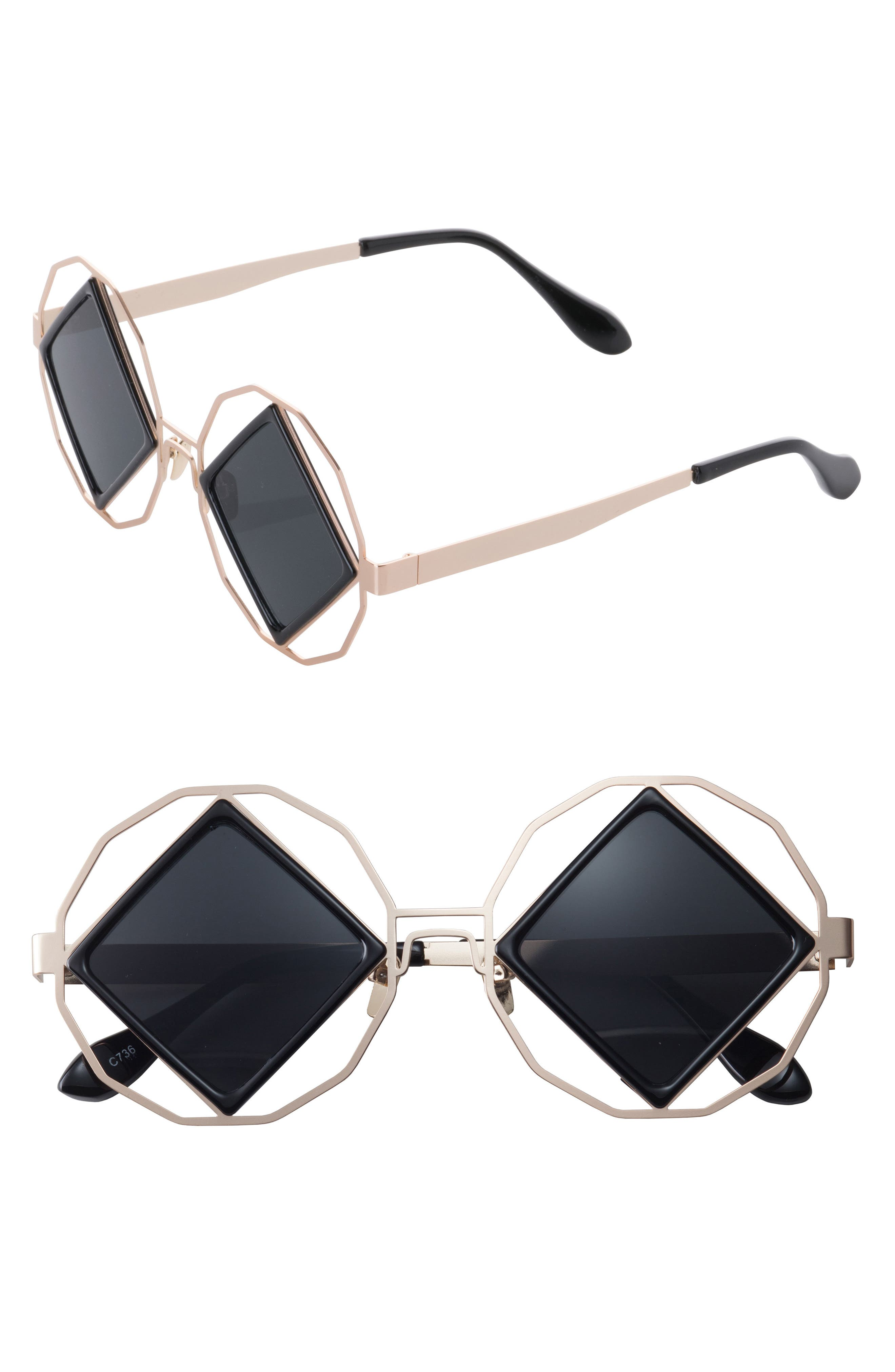Garnet 58mm Geometric Sunglasses,                             Main thumbnail 1, color,                             Black/ Gold