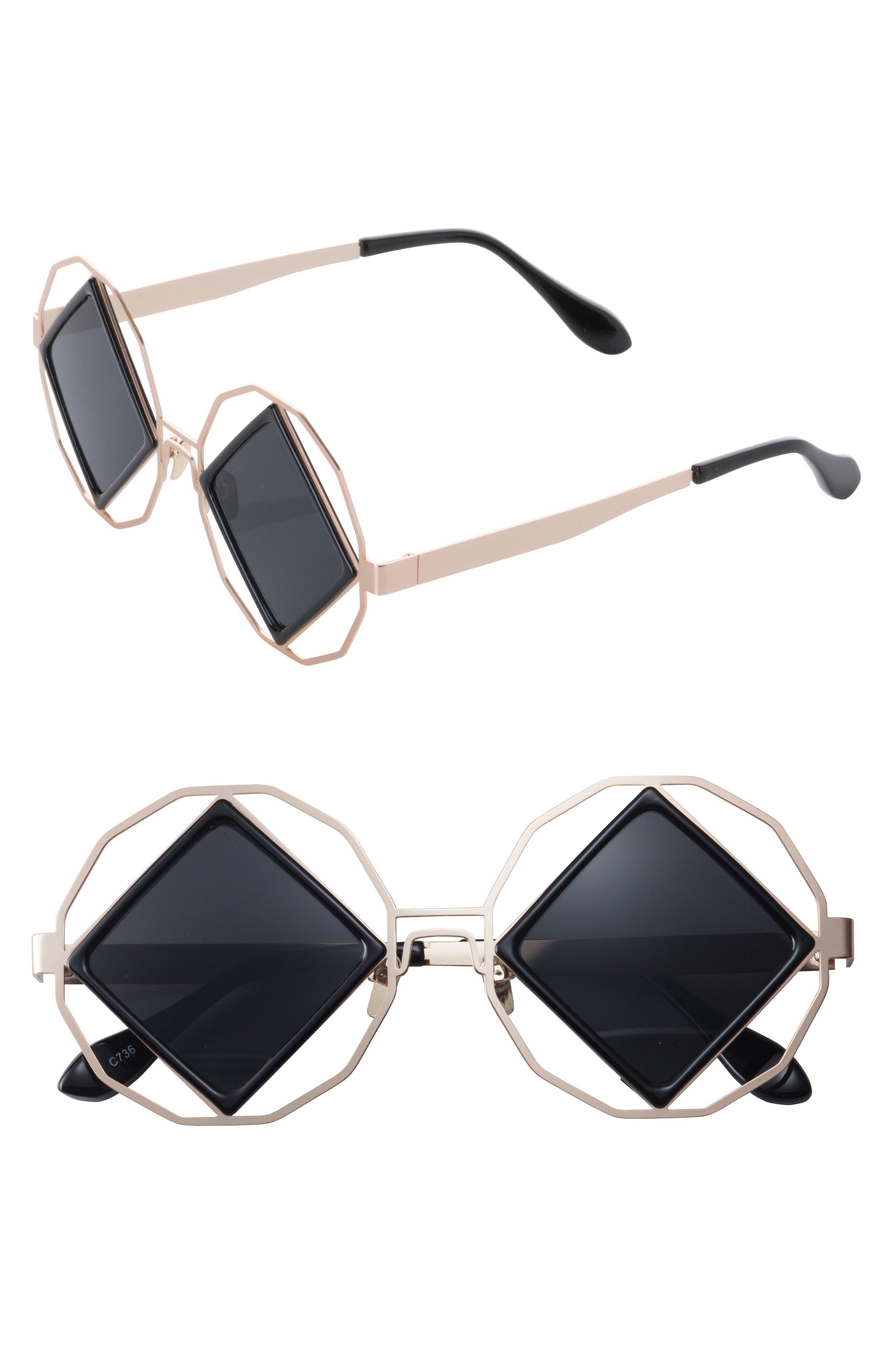 SunnySide LA Garnet 58mm Geometric Sunglasses