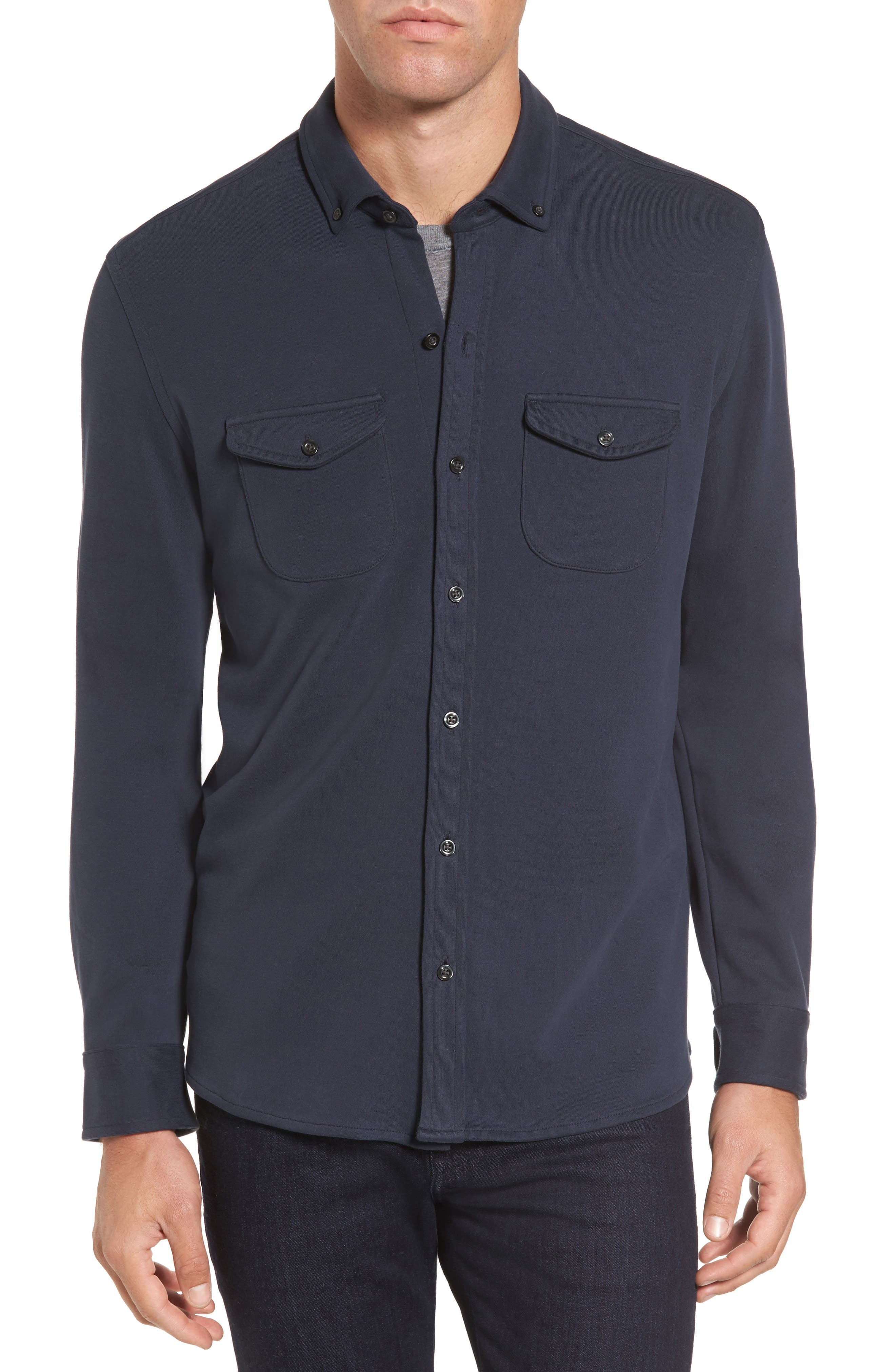 Trim Fit Pima Cotton Knit Sport Shirt,                         Main,                         color, Navy