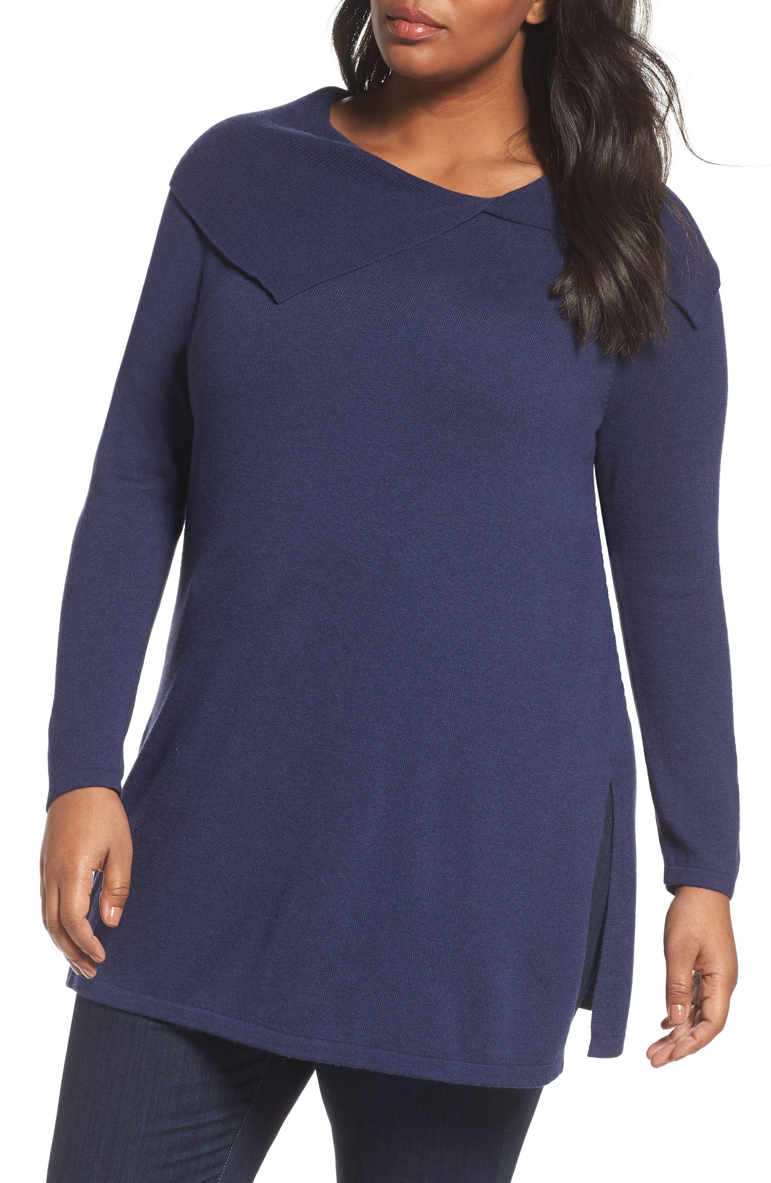 Sejour Split Cowl Sweater (Plus Size)