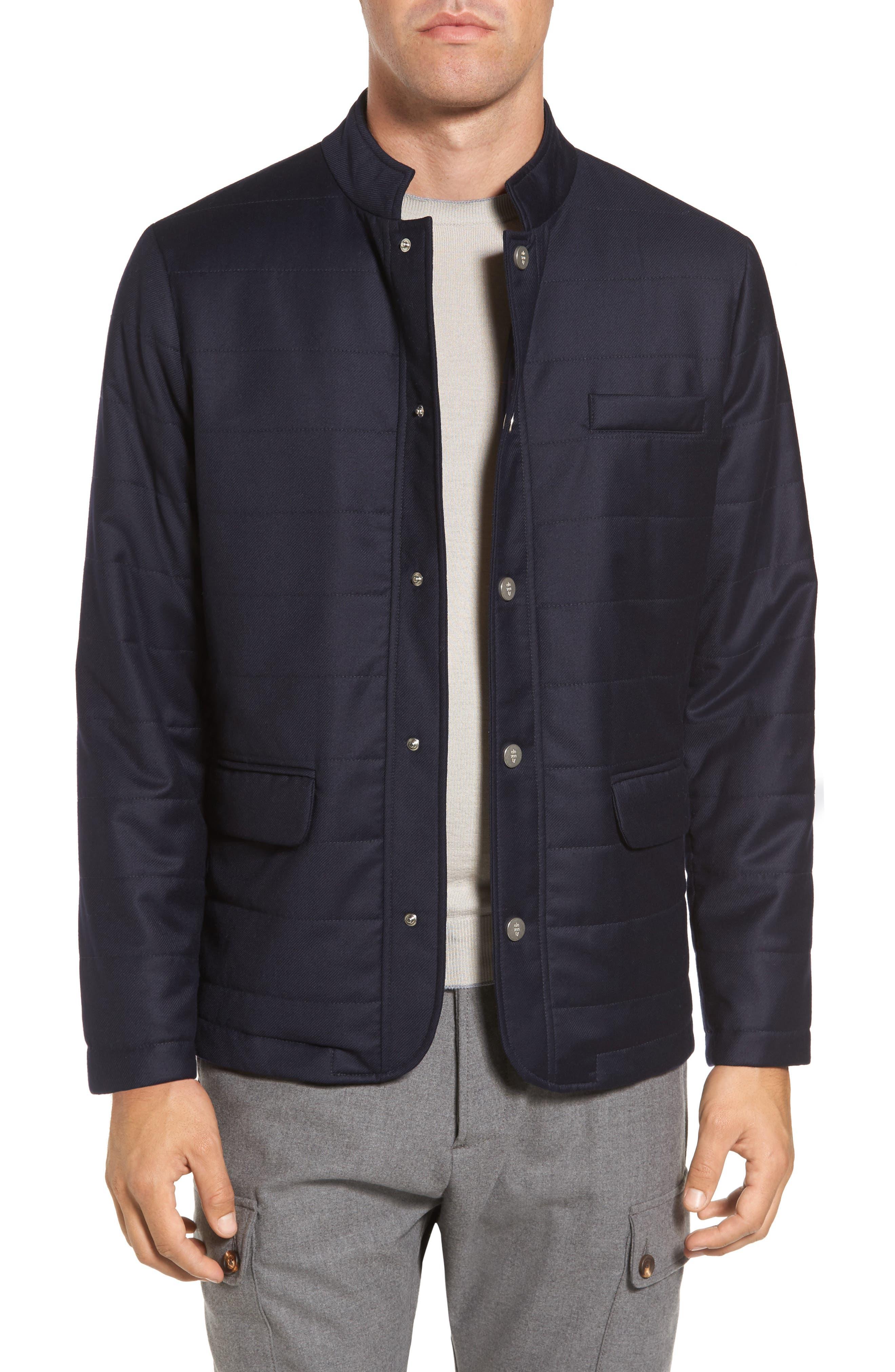 Eleventy Snap Twill Wool Blend Jacket