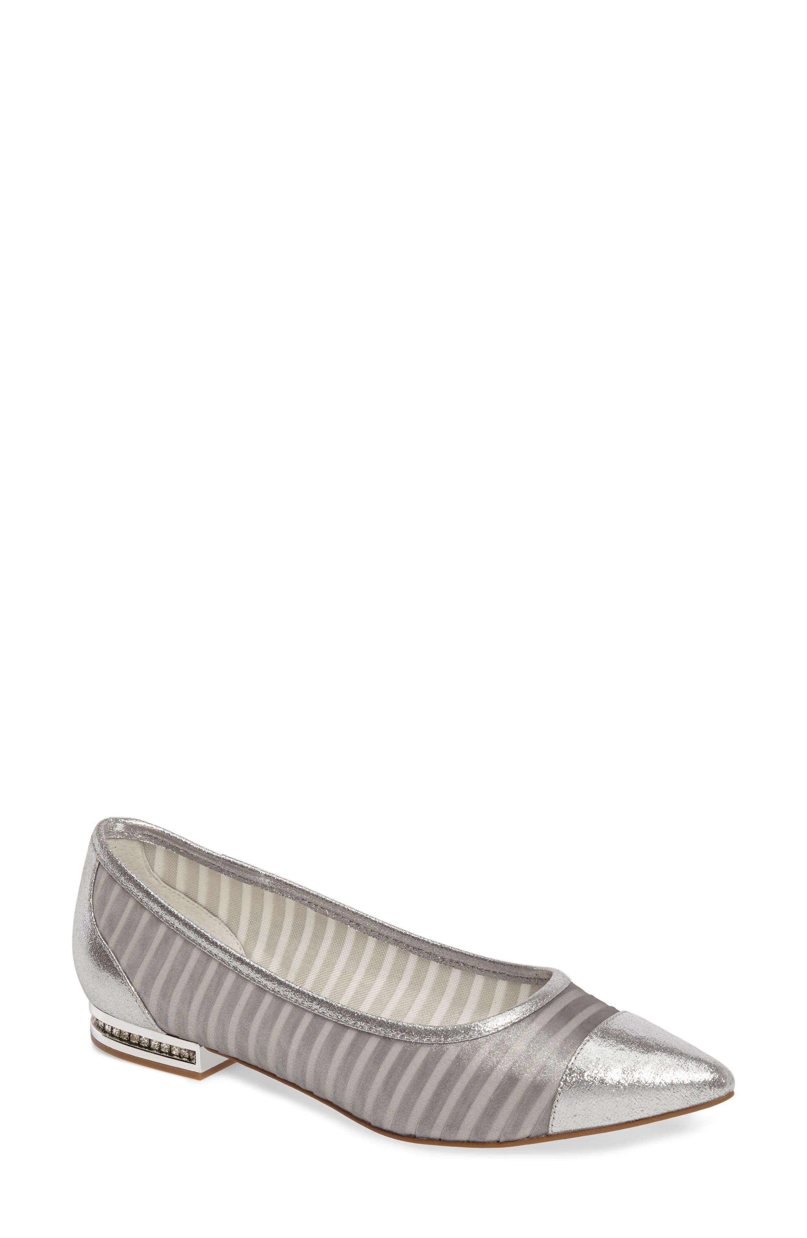 Tiffany Pointy Toe Flat,                         Main,                         color, Silver Fabric