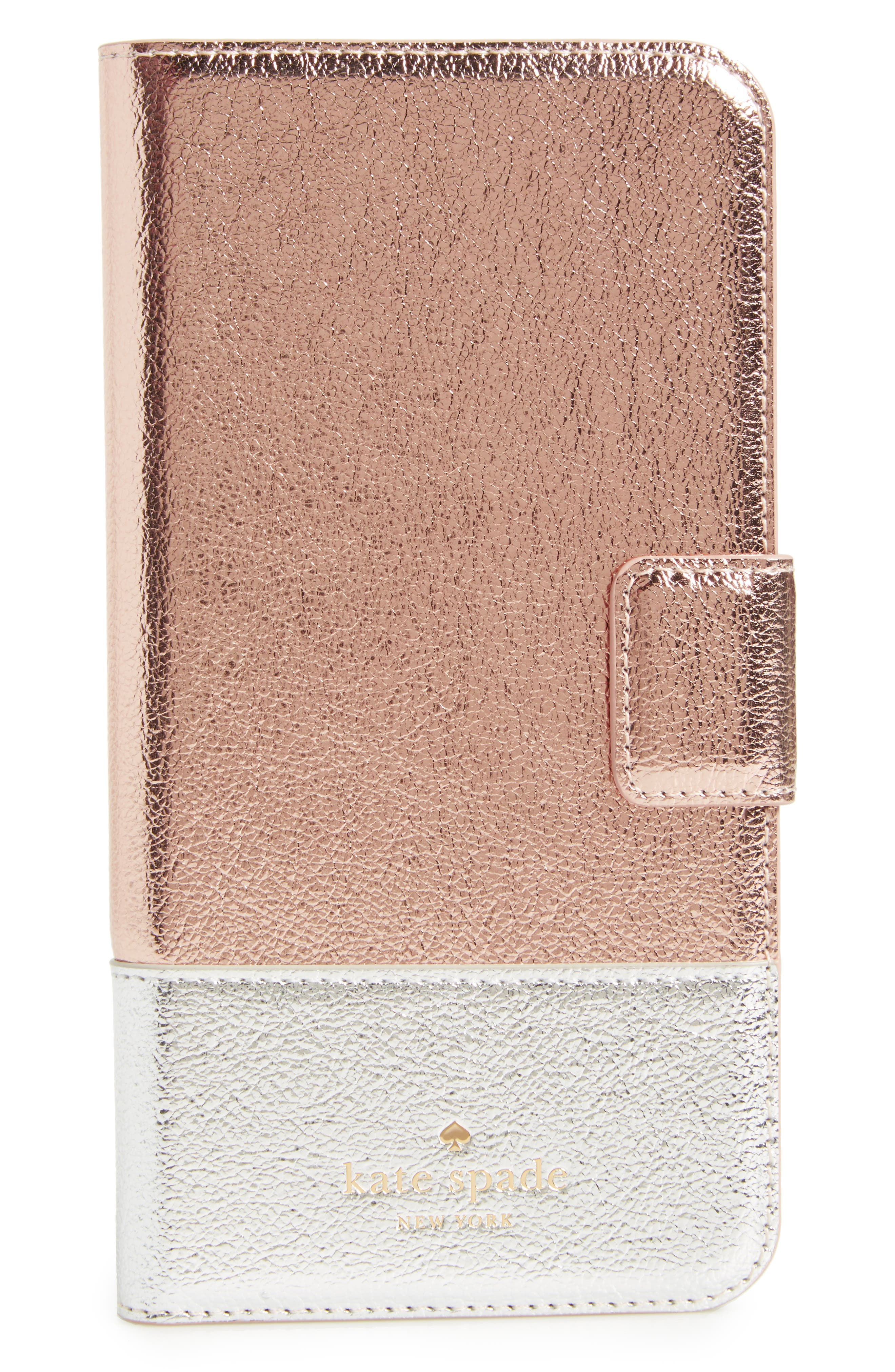 metallic leather iPhone 7/8 & 7/8 Plus case,                         Main,                         color, Rose Gold/ Silver