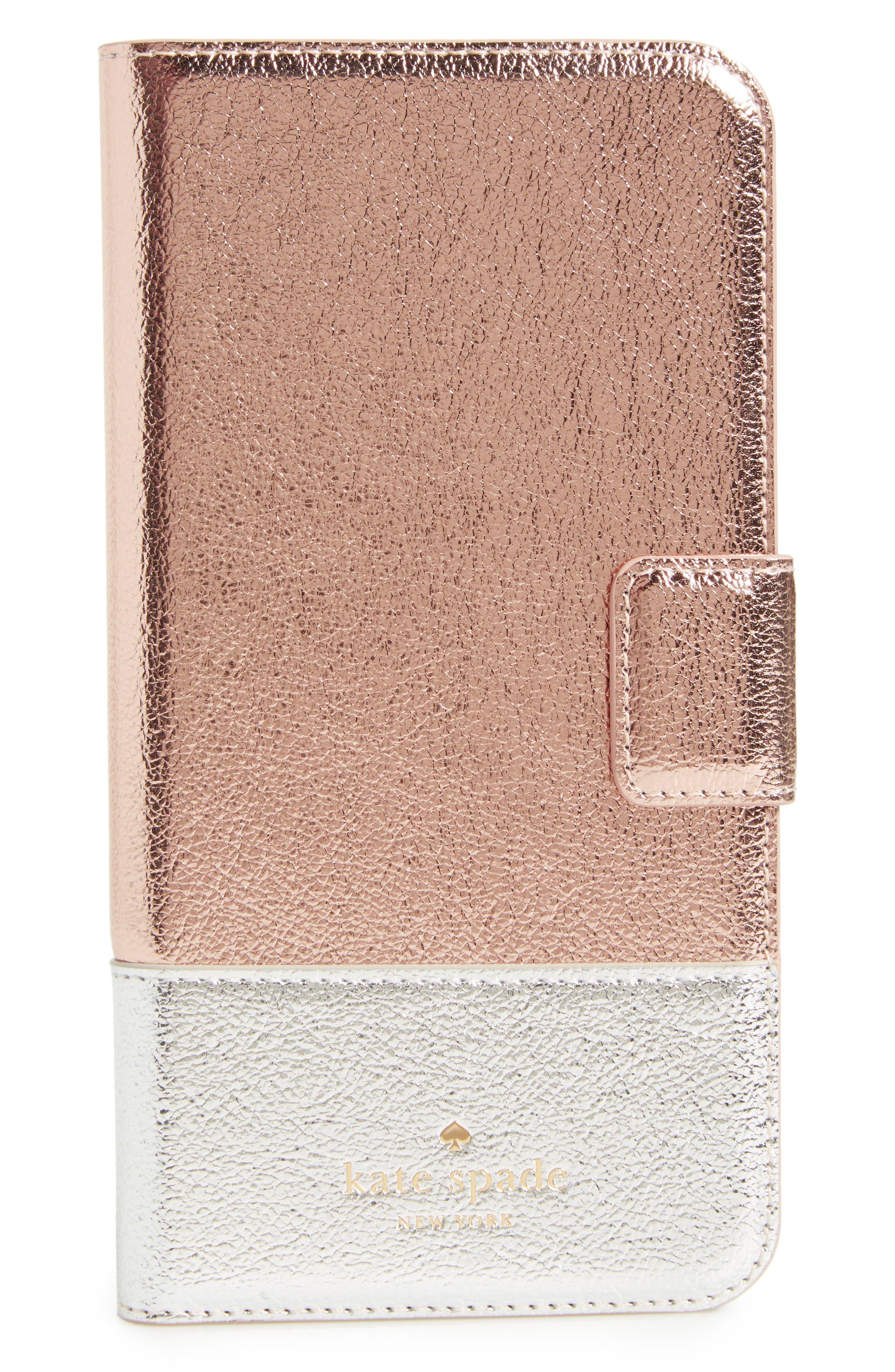 kate spade new york metallic leather iPhone 7 & 7 Plus folio
