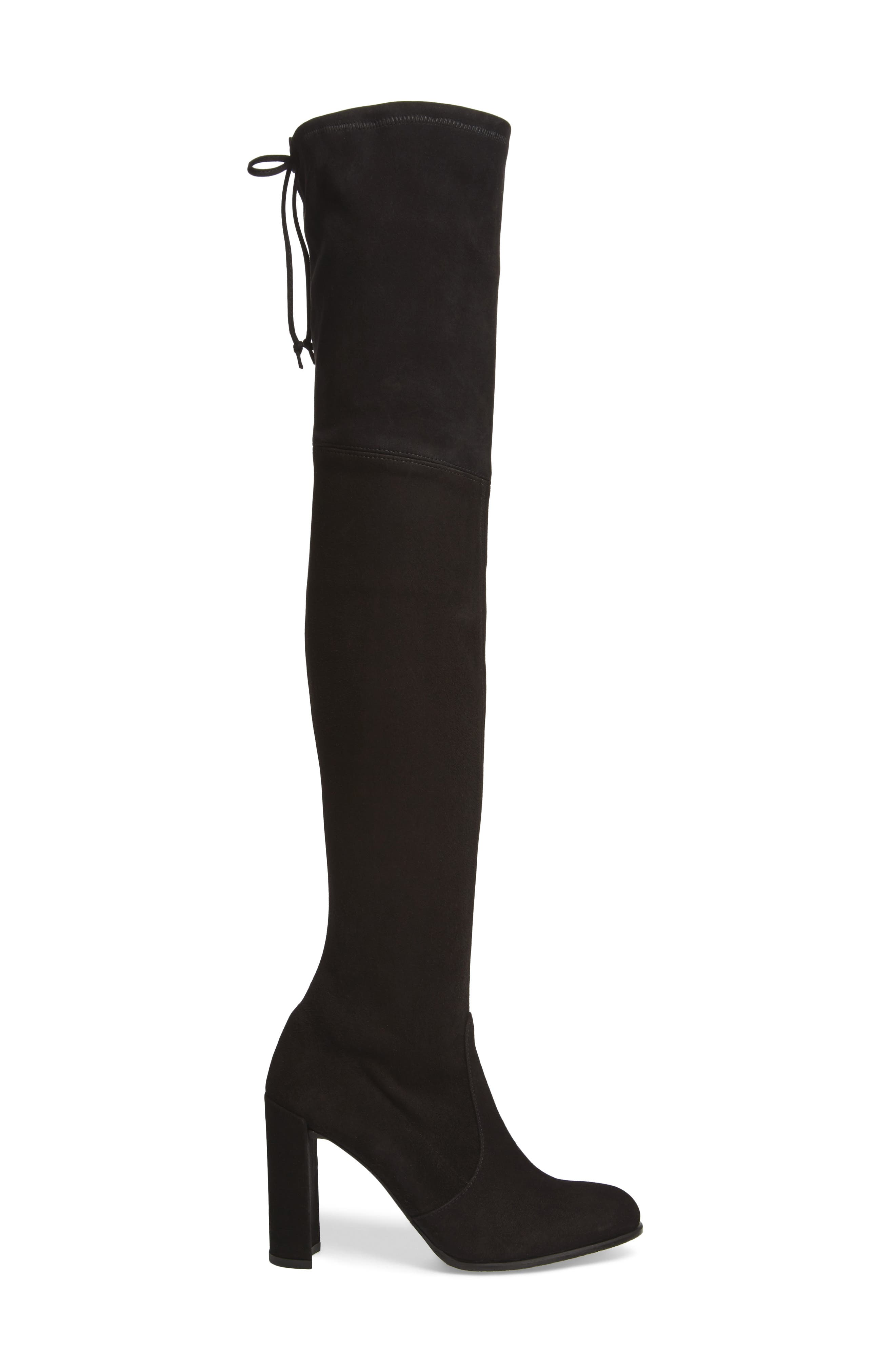 Hiline Over the Knee Boot,                             Alternate thumbnail 3, color,                             Black Suede